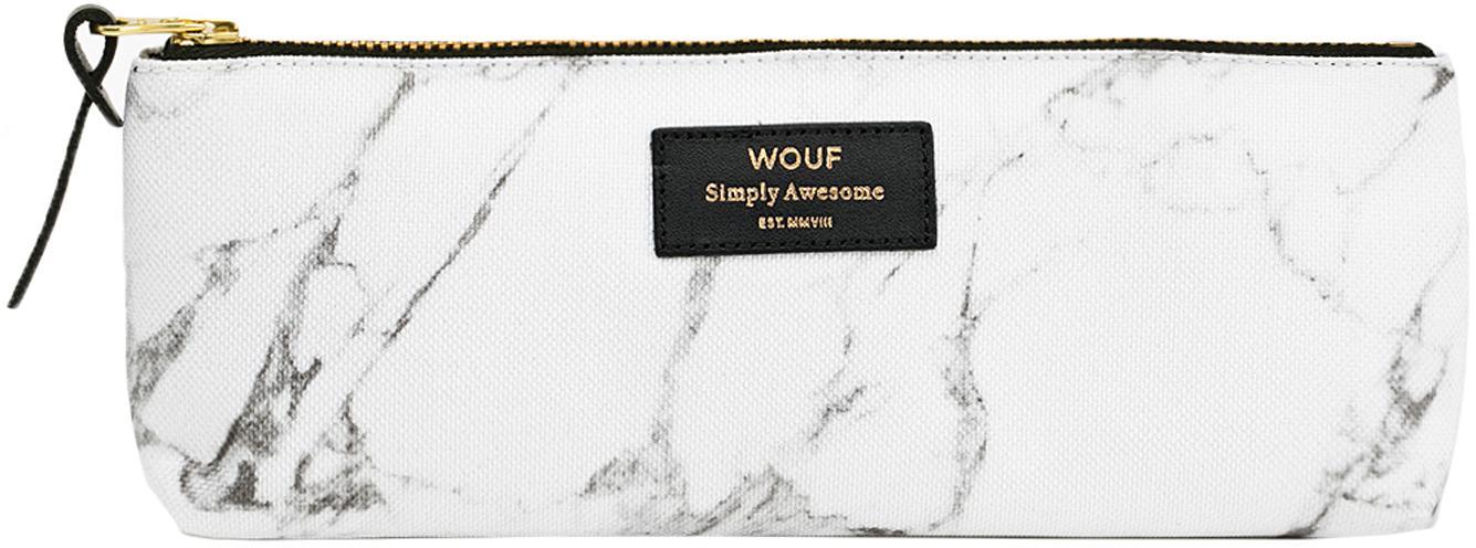 Stifte-Etui White Marble, Polyester, Leder, Weiss, marmoriert, 22 x 9 cm