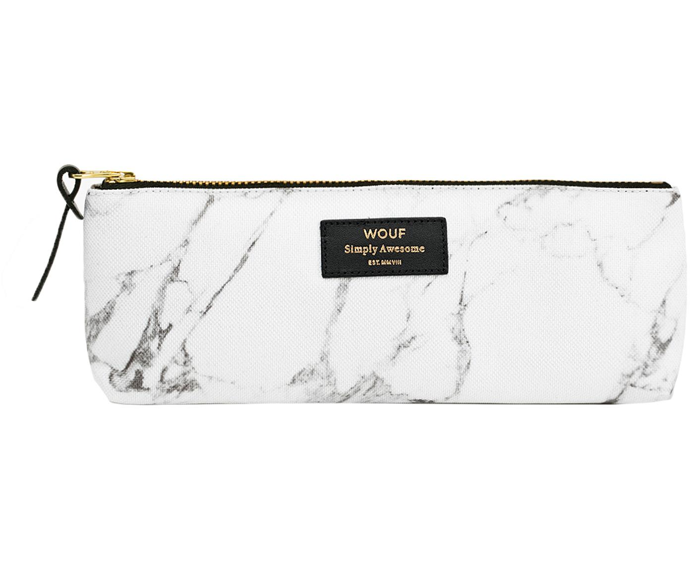 Pennenetui White Marble, Polyester, leer, Wit, 22 x 9 cm