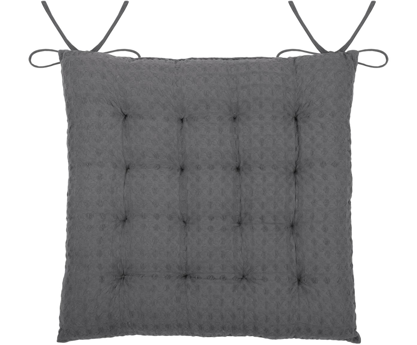 Waffelpiqué-Sitzkissen Gopher in Dunkelgrau, Bezug: 100% Baumwolle, Dunkelgrau, 40 x 40 cm