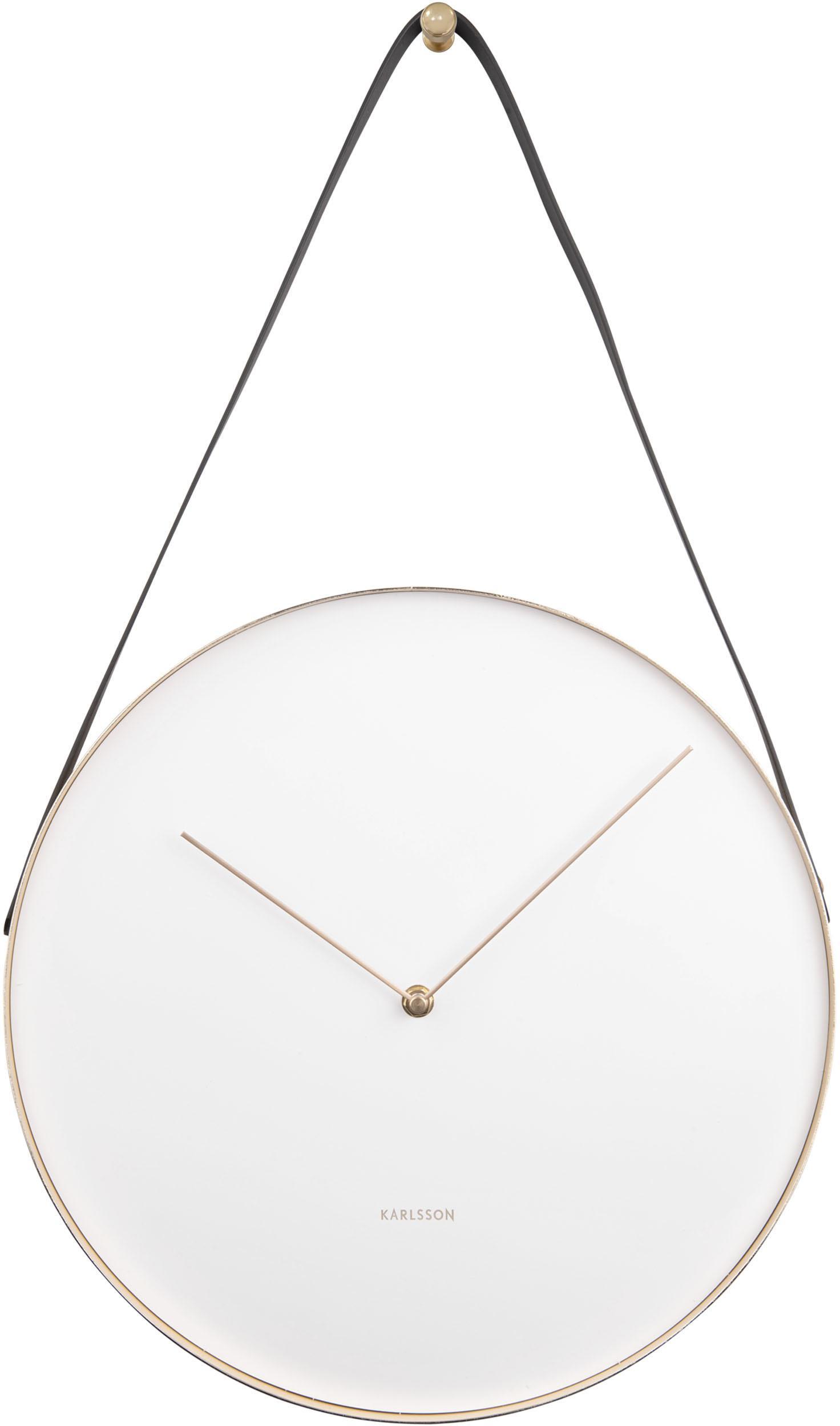 Reloj de pared Belt, Metal recubierto, Blanco, latón, negro, Ø 34 cm