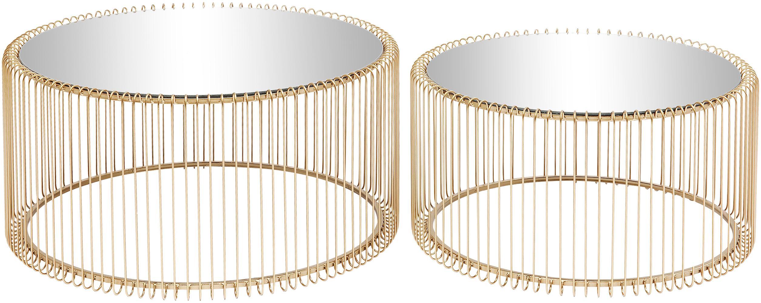 Komplet stolików kawowych z metalu ze szklanym blatem Wire, 2 elem., Stelaż: metal malowany proszkowo, Blat: szkło hartowane, Odcienie mosiądzu, Różne rozmiary