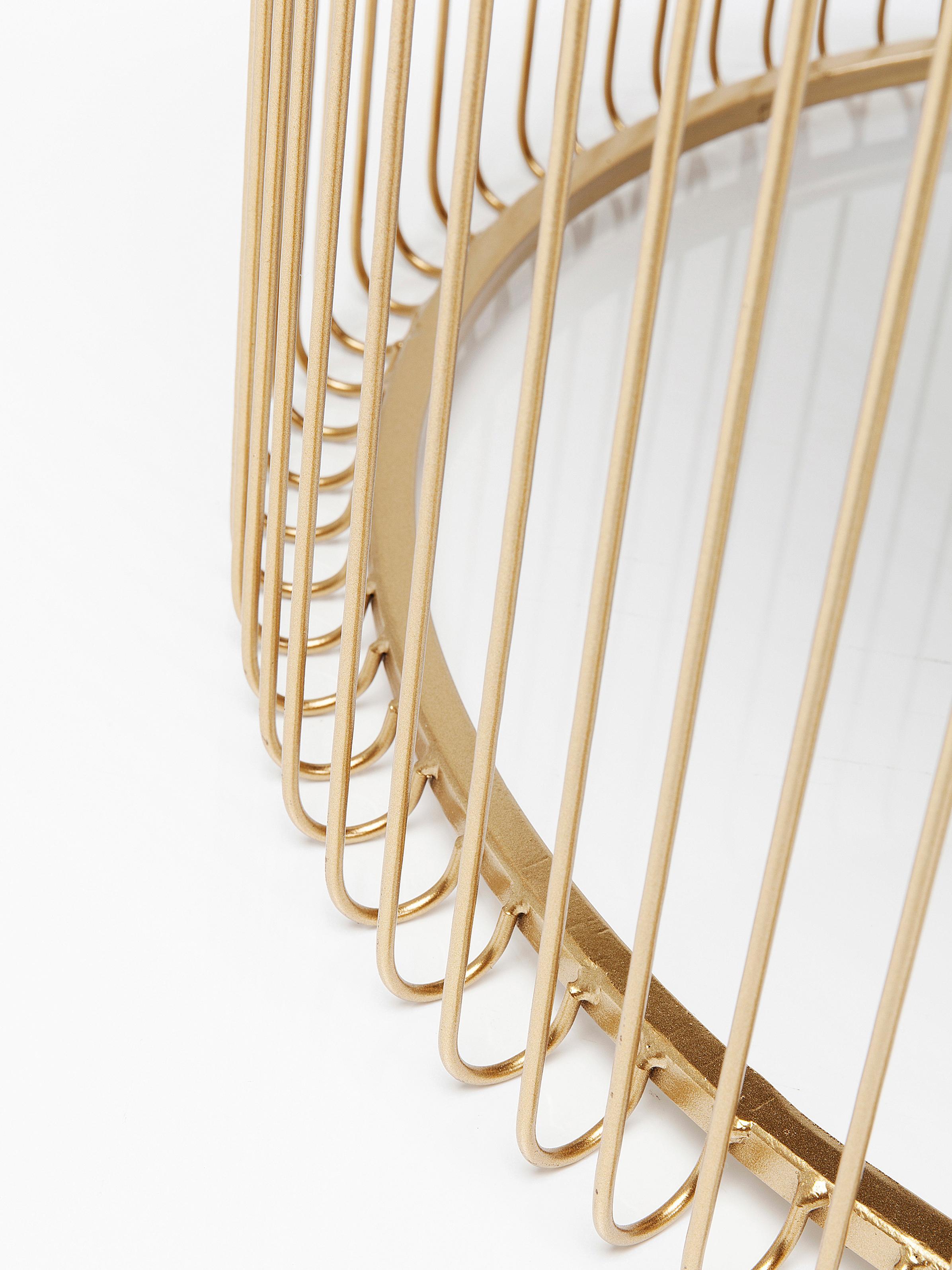 Metall-Couchtisch 2er-Set Wire mit Glasplatte, Gestell: Metall, pulverbeschichtet, Tischplatte: Sicherheitsglas, foliert, Gold, Set mit verschiedenen Grössen