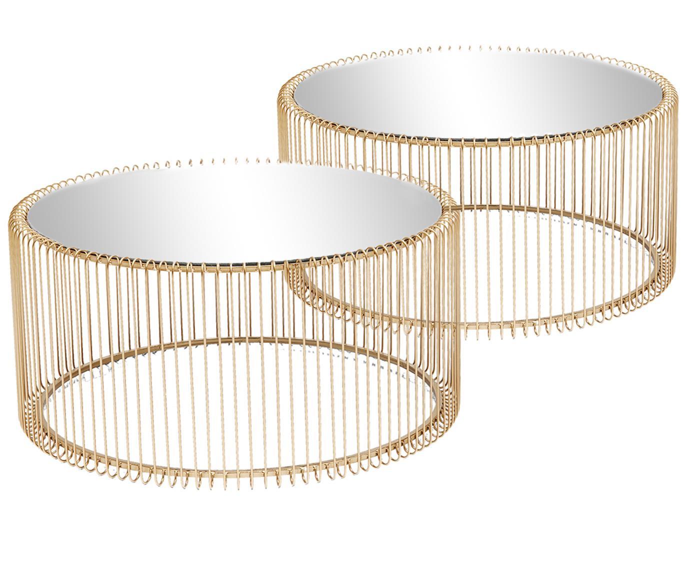 Metalen salontafelset Wire, 2-delig, met glazen tafelbladen, Frame: gepoedercoat metaal, Tafelblad: veiligheidsglas, Messingkleurig, Verschillende formaten
