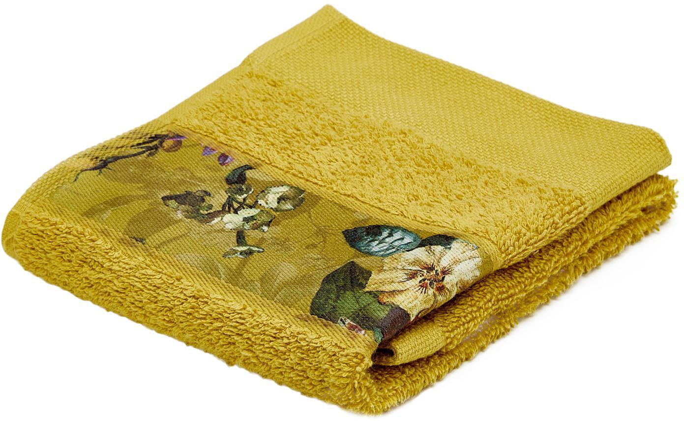 Handdoek Fleur met bloemenrand, 97% katoen 3% polyester, Mosterdgeel, multicolour, Gastendoekje