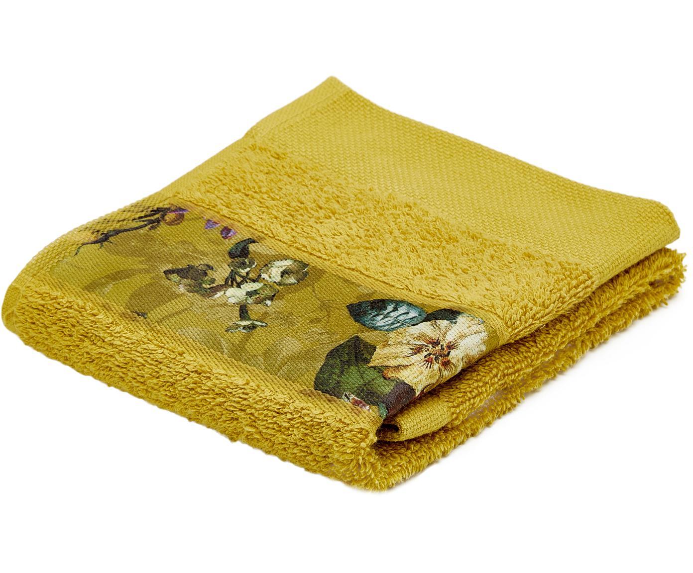Handtuch Fleur mit Blumen-Bordüre, 97% Baumwolle, 3% Polyester, Senfgelb, Mehrfarbig, Gästehandtuch