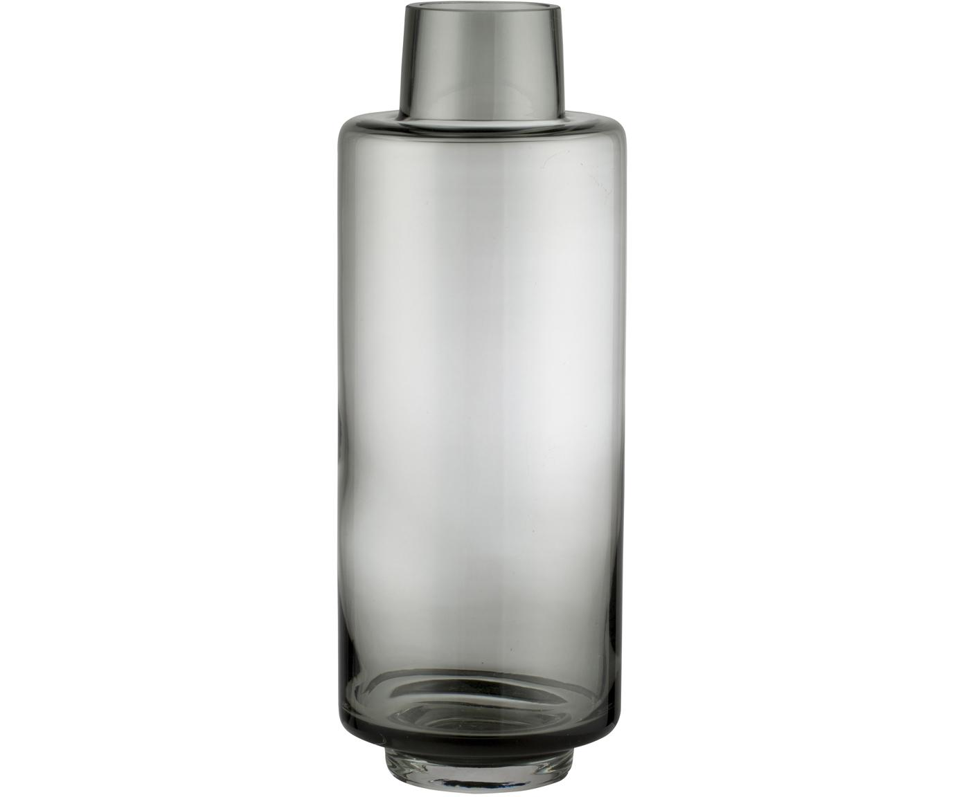Jarrón de vidrio soplado Hedria, grande, Vidrio, Gris oscuro, Ø 11 x Al 30 cm