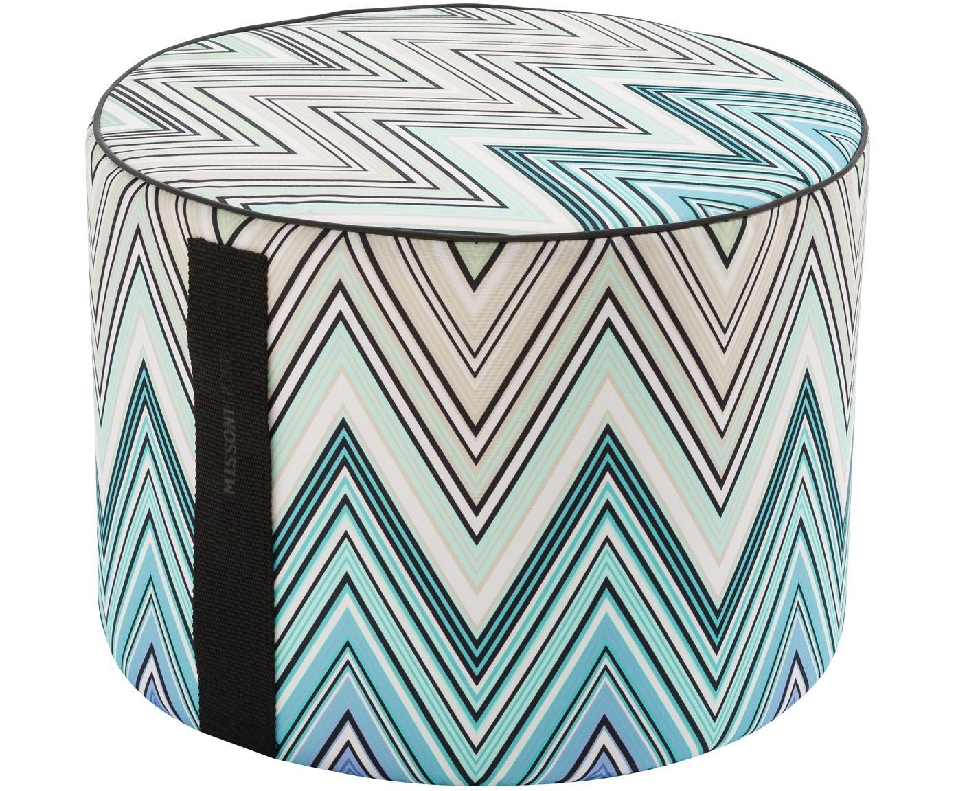 Design In- und Outdoor-Pouf Kew, Bezug: Polyester, Mehrfarbig, Türkis, Ø 40 x H 30 cm