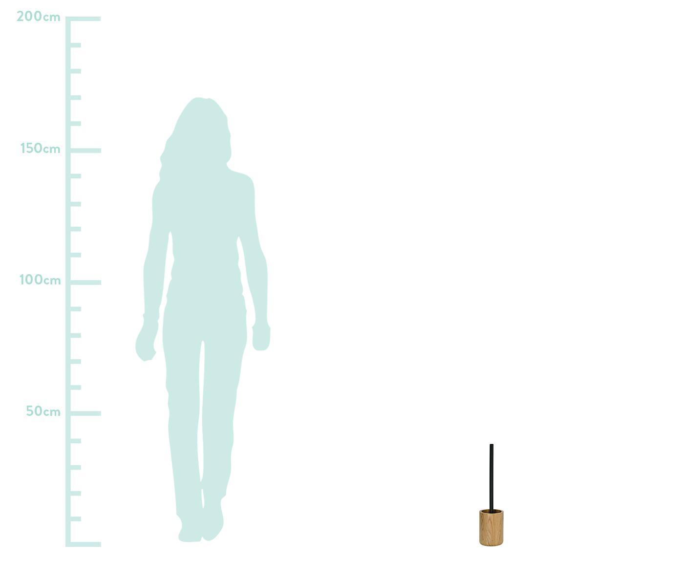 Toilettenbürste Erwin mit Eichenholz-Behälter, Behälter: Eichenholz, Griff: Edelstahl, lackiert, Eichenholz, Edelstahl, Ø 10 x H 39 cm