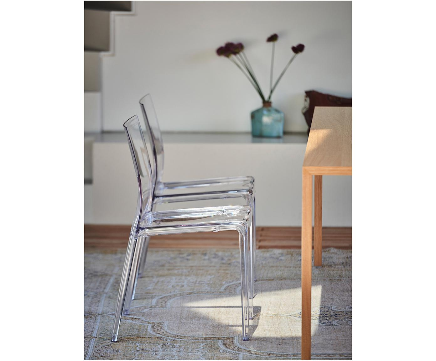Kunststoffen stoel Mia, Kunststof (polycarbonaat), Transparant, B 46 x D 44 cm