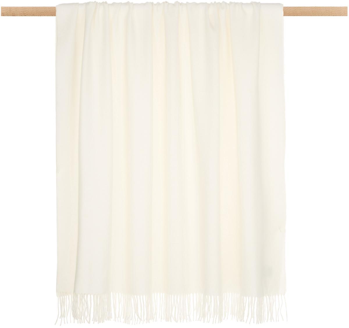 Alpacawollen plaid Luxury, Beige, wit, 130 x 200 cm