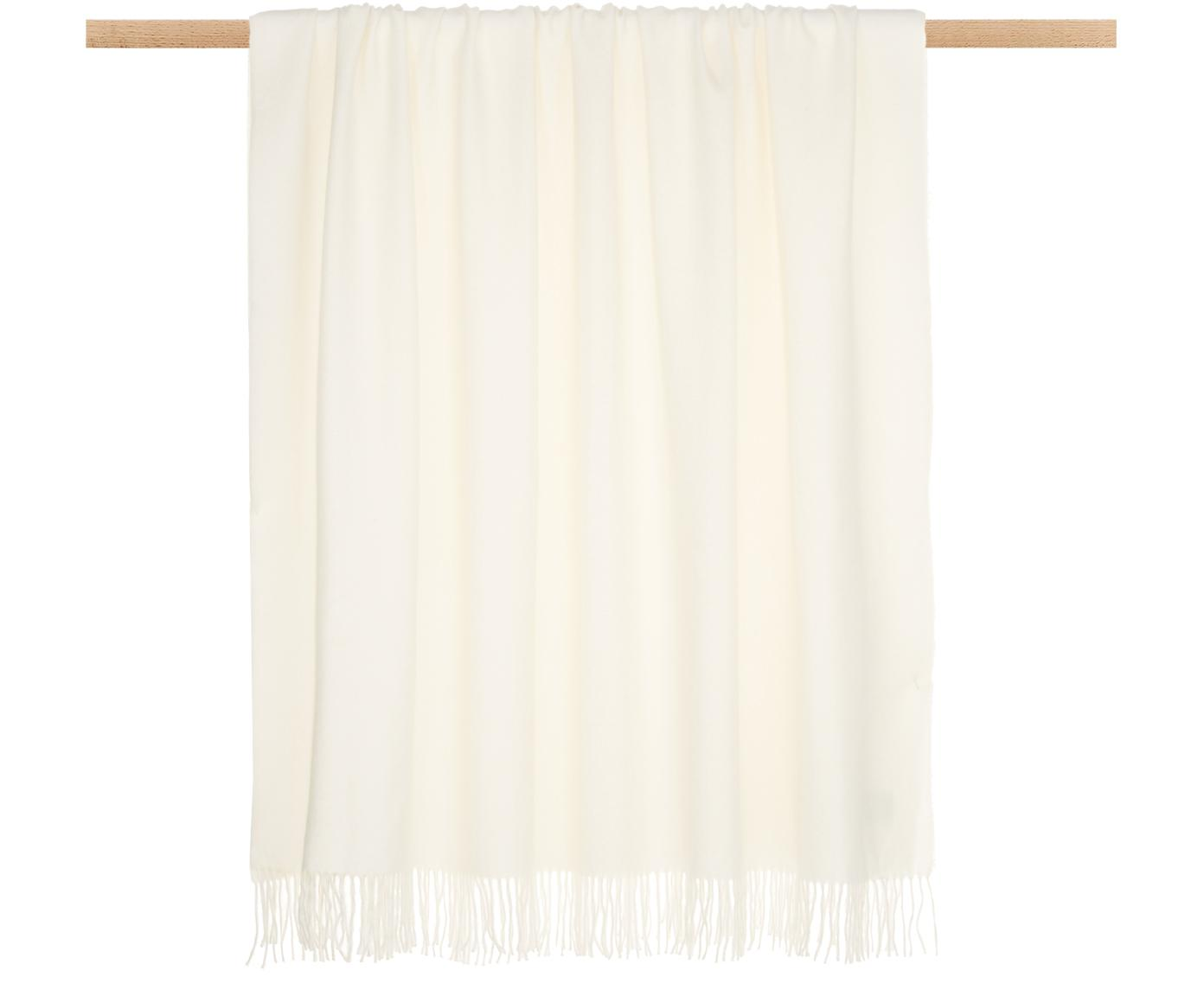 Plaid in baby alpaca Luxury, Beige, bianco, P 130 x L 200 cm