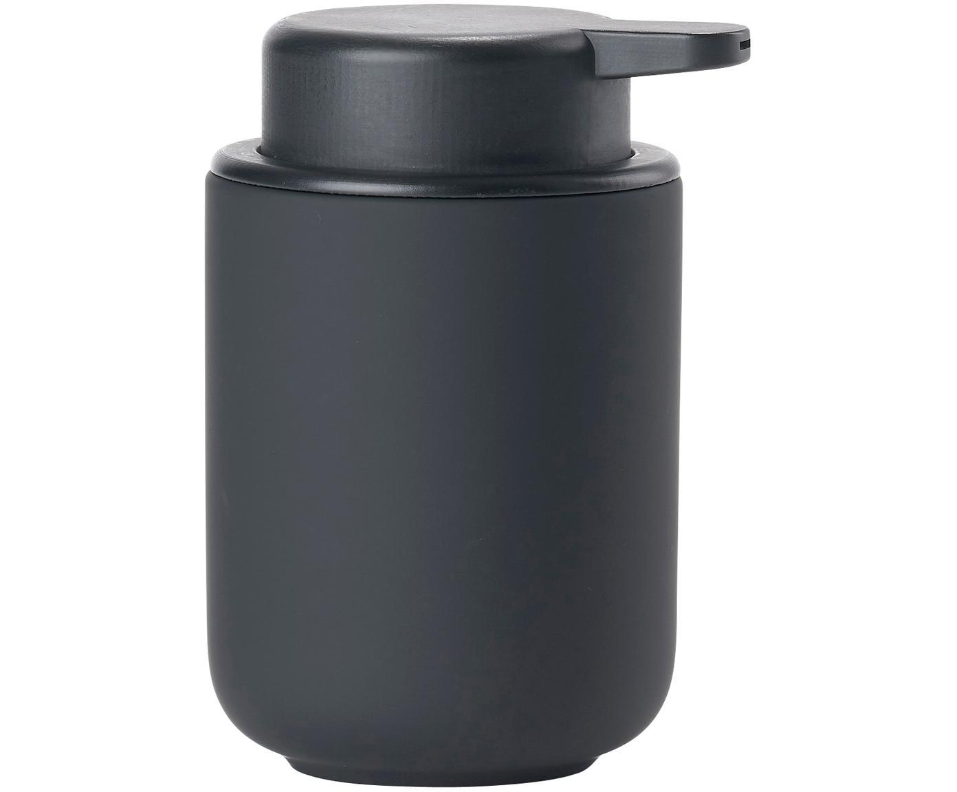 Zeepdispenser Omega, Houder: keramiek overtrokken met , Mat zwart, Ø 8 x H 13 cm