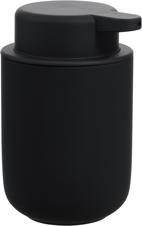 Zeepdispenser Ume van keramiek, Houder: keramiek overtrokken met , Mat zwart, Ø 8 x H 13 cm