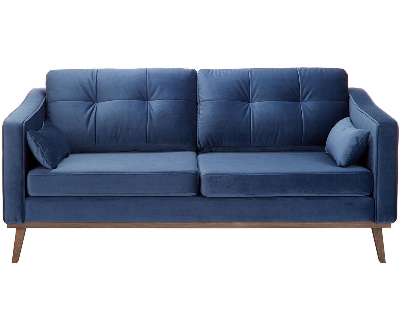 Sofa z aksamitu Alva (2-osobowa), Tapicerka: aksamit (wysokiej jakości, Stelaż: drewno sosnowe, Nogi: lite drewno bukowe, barwi, Tapicerka: marynarski granat Nogi: drewno bukowe, bejcowane na ciemno, S 184 x G 92 cm