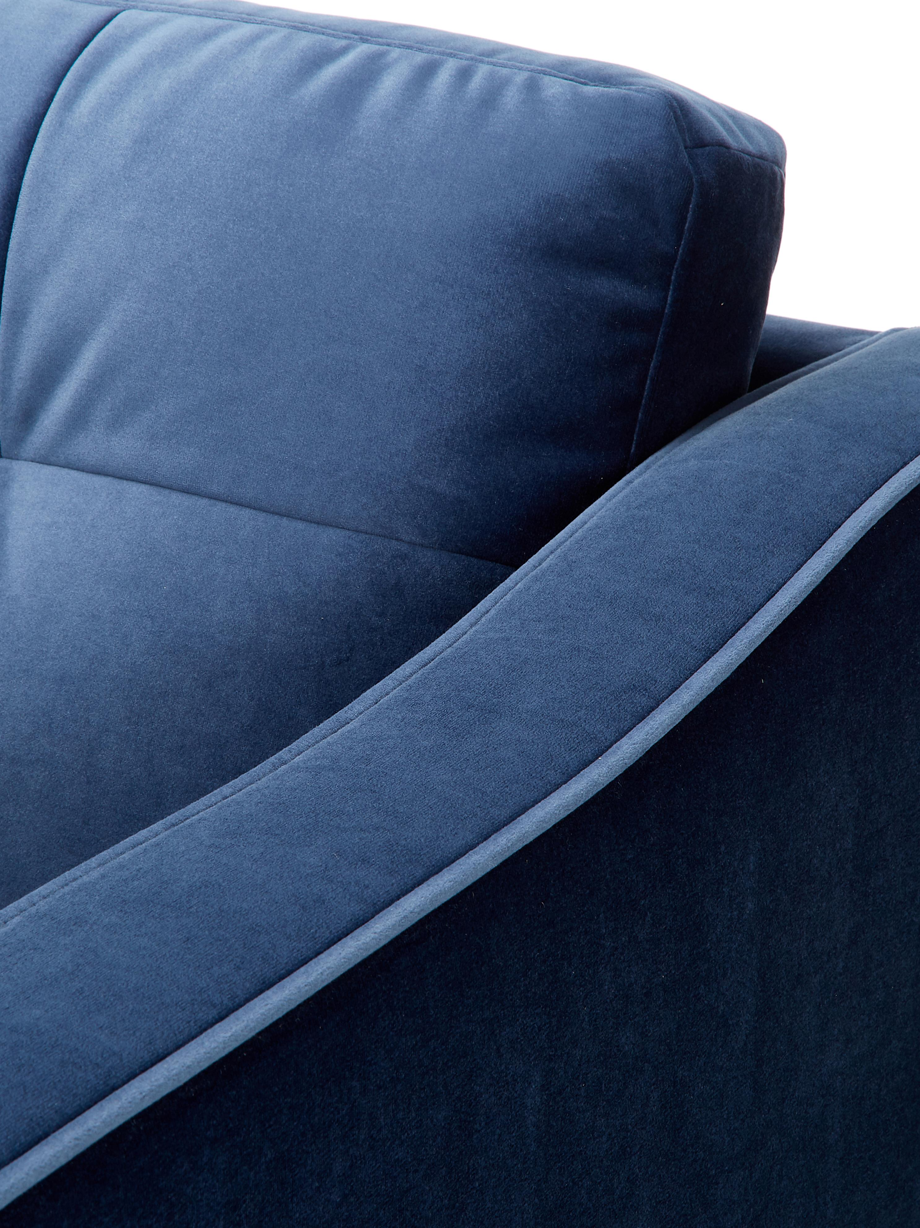 Sofá de terciopelo Alva (2plazas), Tapizado: terciopelo (poliéster de , Estructura: madera de pino maciza, Patas: madera de haya curtida, Azul oscuro, An 184 x F 92 cm