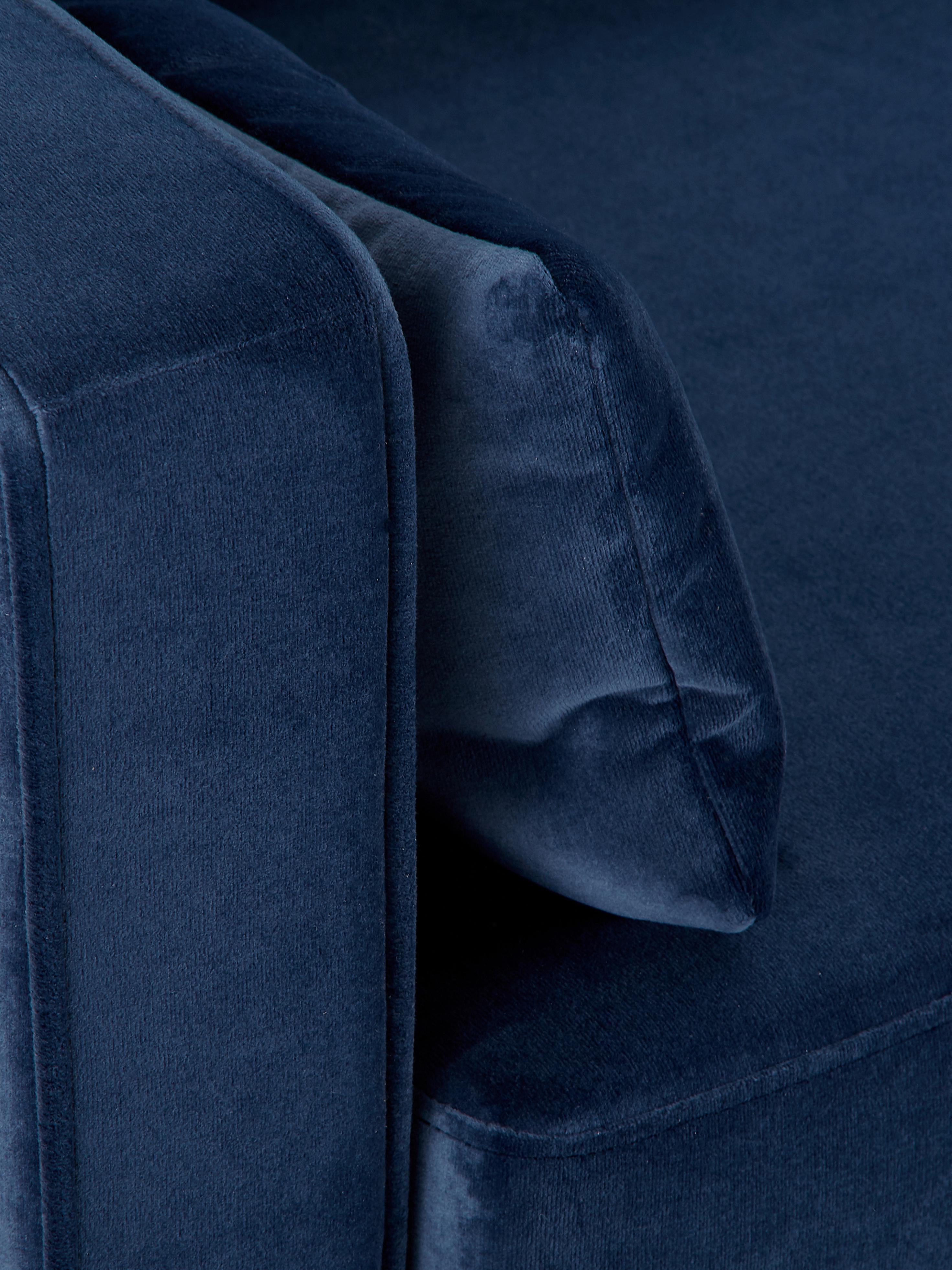 Samt-Sofa Alva (2-Sitzer), Bezug: Samt (Hochwertiger Polyes, Gestell: Massives Kiefernholz, Füße: Massives Buchenholz, gebe, Samt Dunkelblau, B 184 x T 92 cm