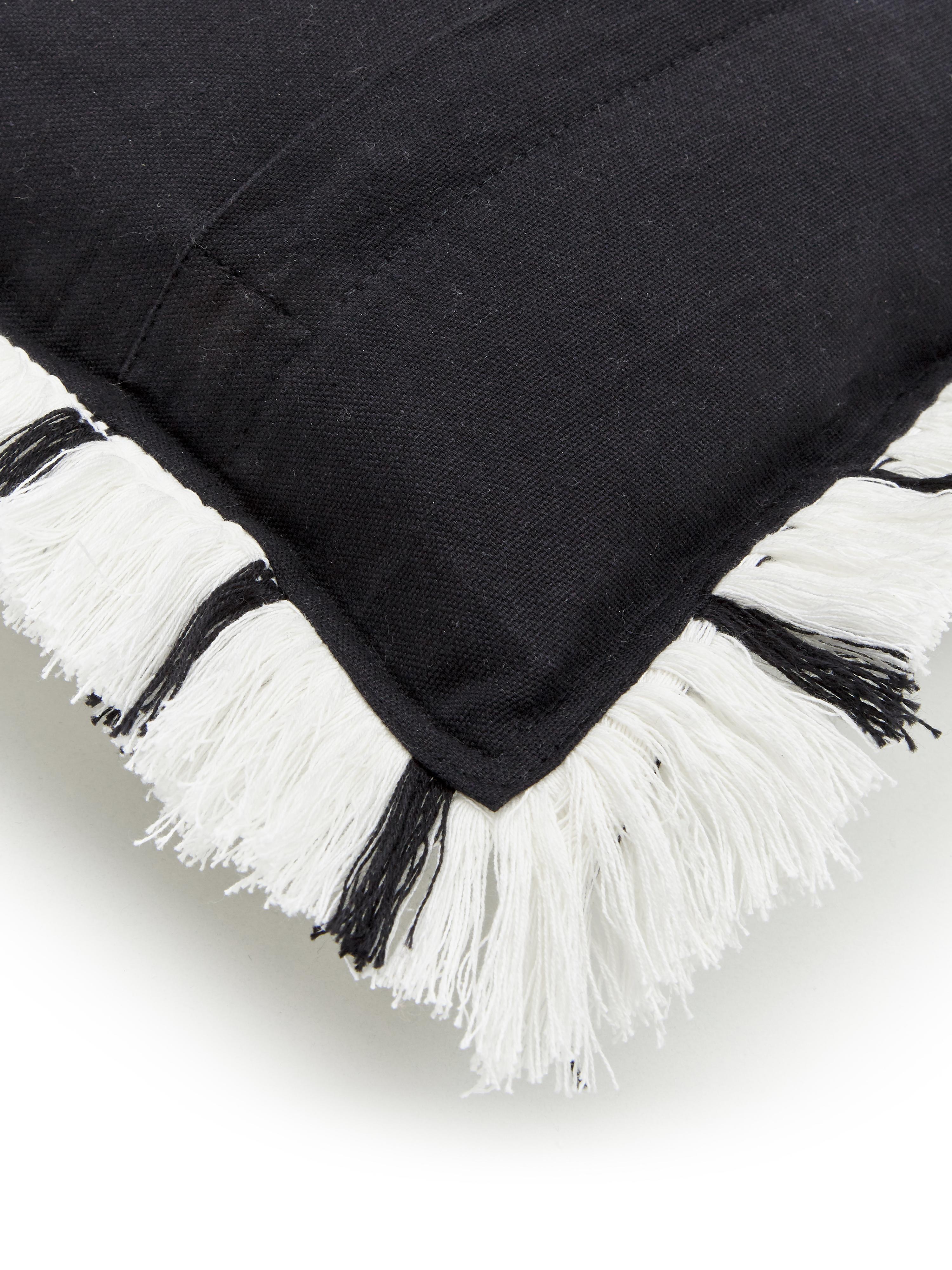 Handgewebte Kissenhülle Charlotta mit Fransen, 100% Baumwolle, Cremeweiß-Schwarz, 45 x 45 cm