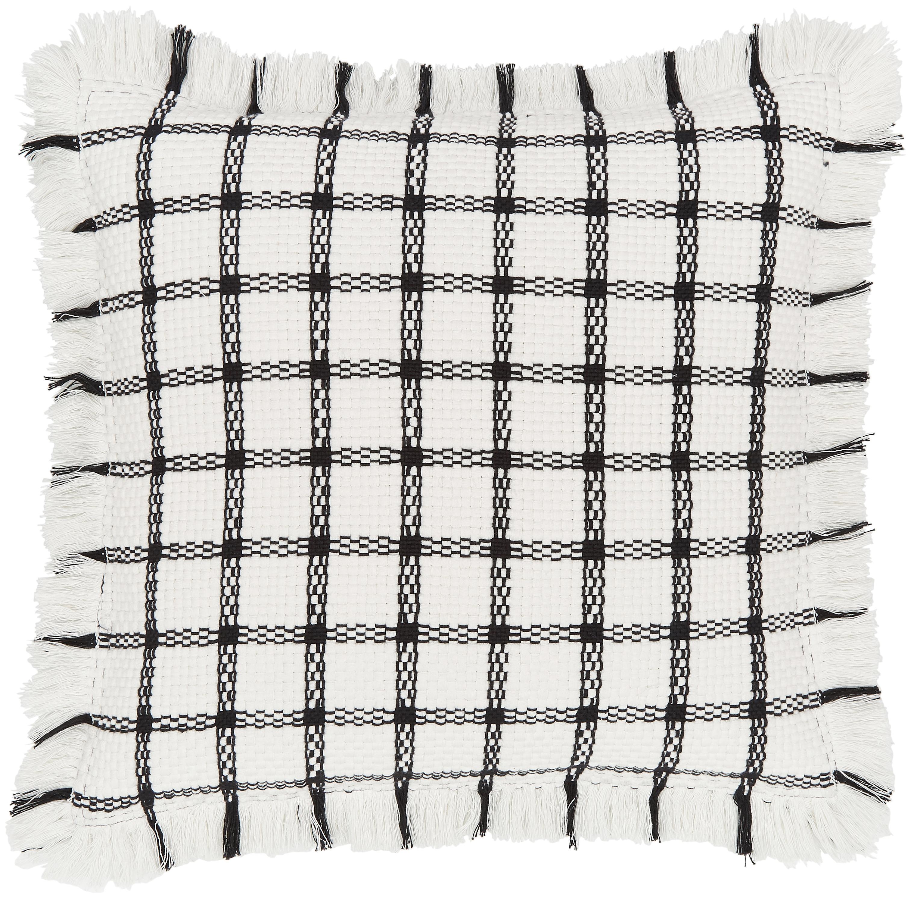 Federa arredo intrecciata a mano Charlotta, 100% cotone, Bianco crema-nero, Larg. 45 x Lung. 45 cm