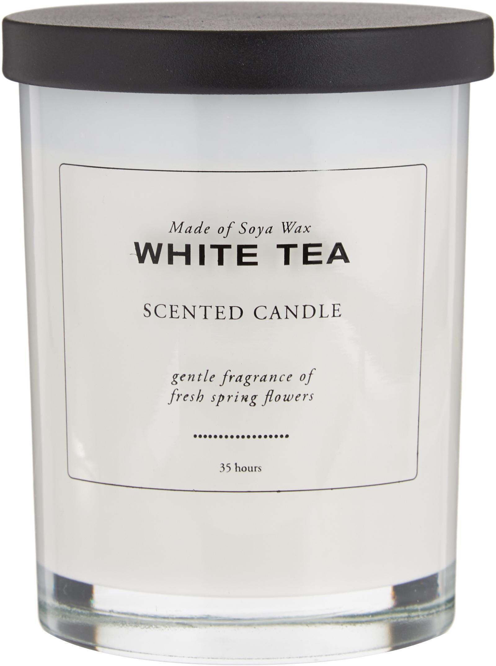 Candela profumata White Tea (tè bianco in polvere), Contenitore: vetro, Coperchio: legno, Bianco, nero, Ø 8 x A 10 cm