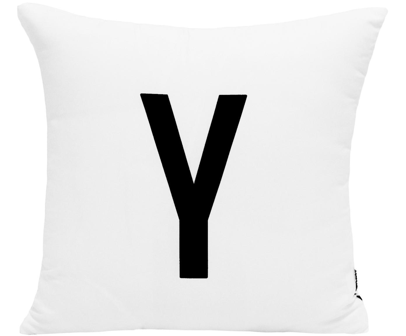 Funda de cojín Alphabet (variantes de A a Z), Poliéster, Negro, blanco, Variante Y