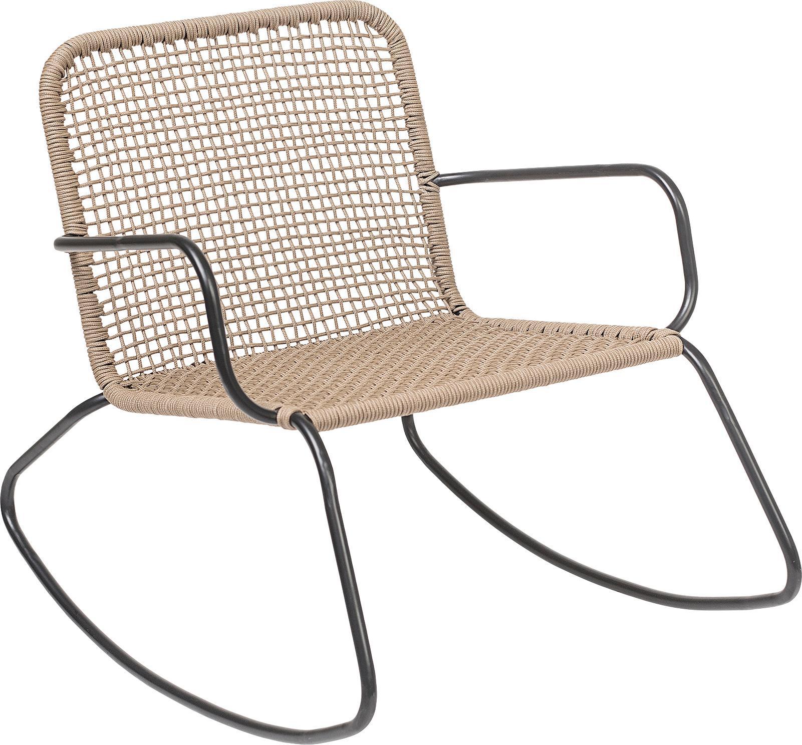 Sedia a dondolo con intreccio in plastica Mundo, Struttura: metallo verniciato a polv, Seduta: polietilene, Nero, beige, Larg. 73 x Prof. 89 cm