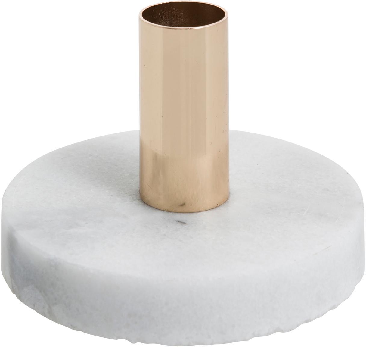 Marmeren kandelaar Cole, Marmer, metaal, Wit, goudkleurig, Ø 10 x H 7 cm