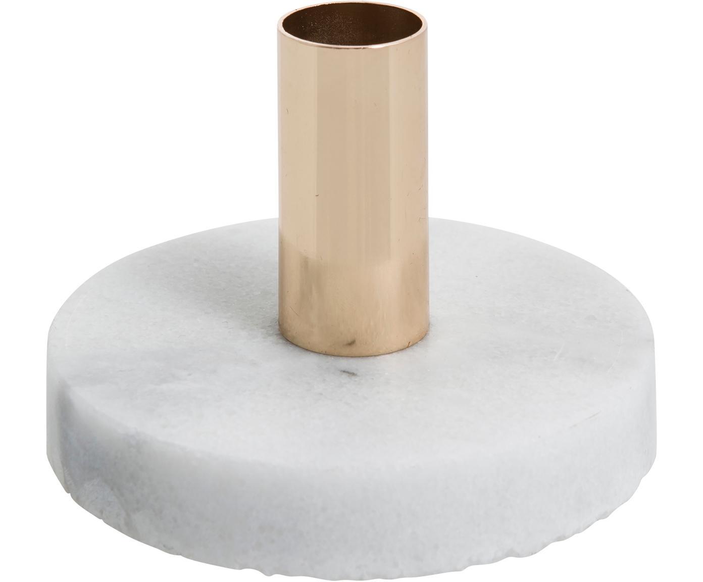 Marmor-Kerzenhalter Cole, Marmor, Metall, Weiß, Goldfarben, Ø 10 x H 7 cm