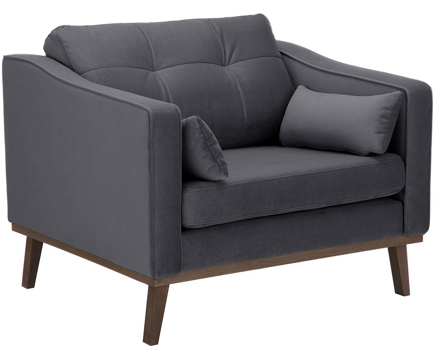 Fluwelen fauteuil Alva, Bekleding: fluweel (hoogwaardig poly, Frame: massief grenenhout, Poten: massief gebeitst beukenho, Grijs, B 102 x D 92 cm