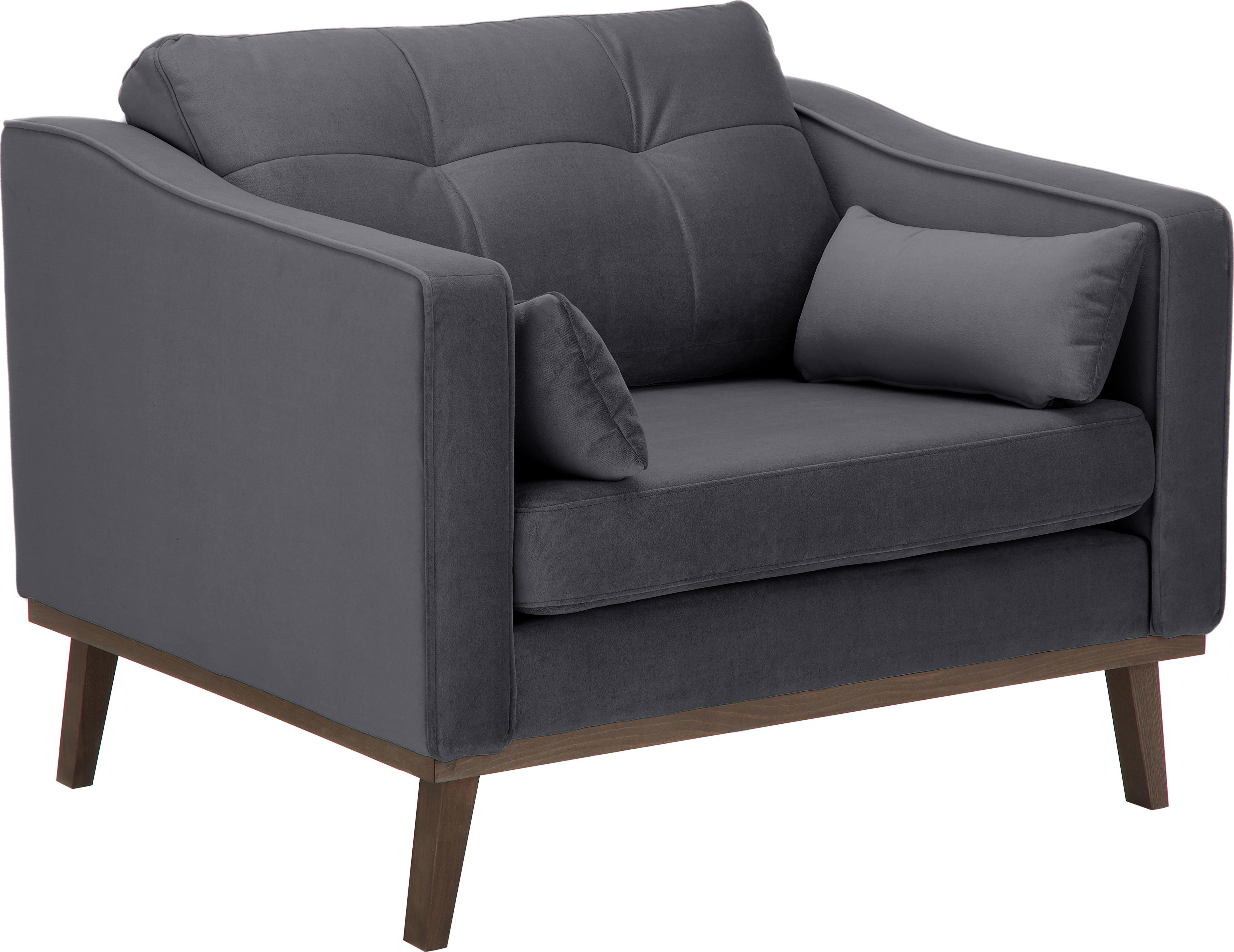 Fotel z aksamitu Alva, Tapicerka: aksamit (wysokiej jakości, Stelaż: drewno sosnowe, Nogi: lite drewno bukowe, barwi, Tapicerka: szary Nogi: drewno bukowe, bejcowane na ciemno, S 102 x G 94 cm