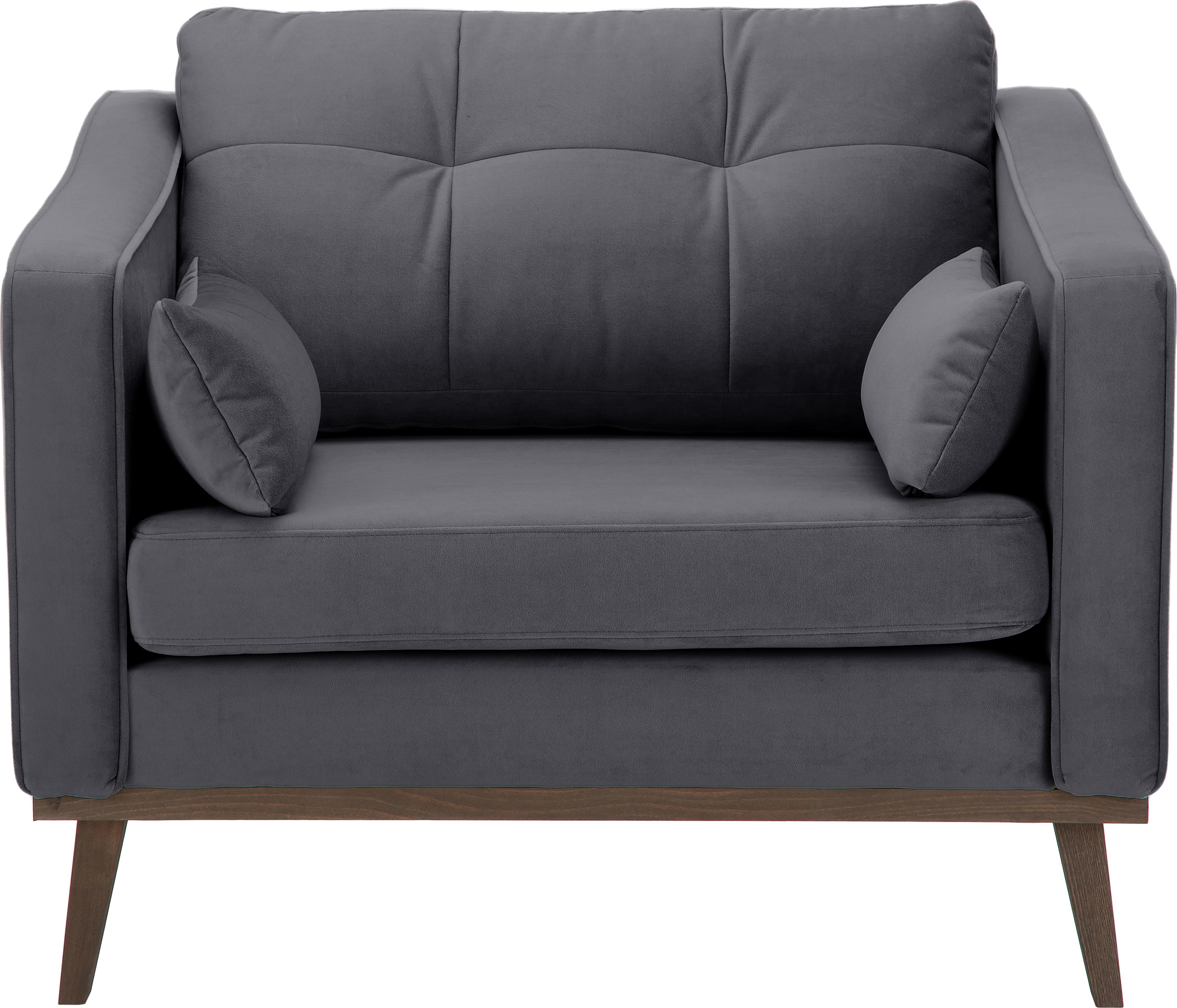 Klassischer Samt-Sessel Alva in Grau, Bezug: Samt (Hochwertiger Polyes, Gestell: Massives Kiefernholz, Füße: Massives Buchenholz, gebe, Samt Dunkelgrau, B 102 x T 92 cm