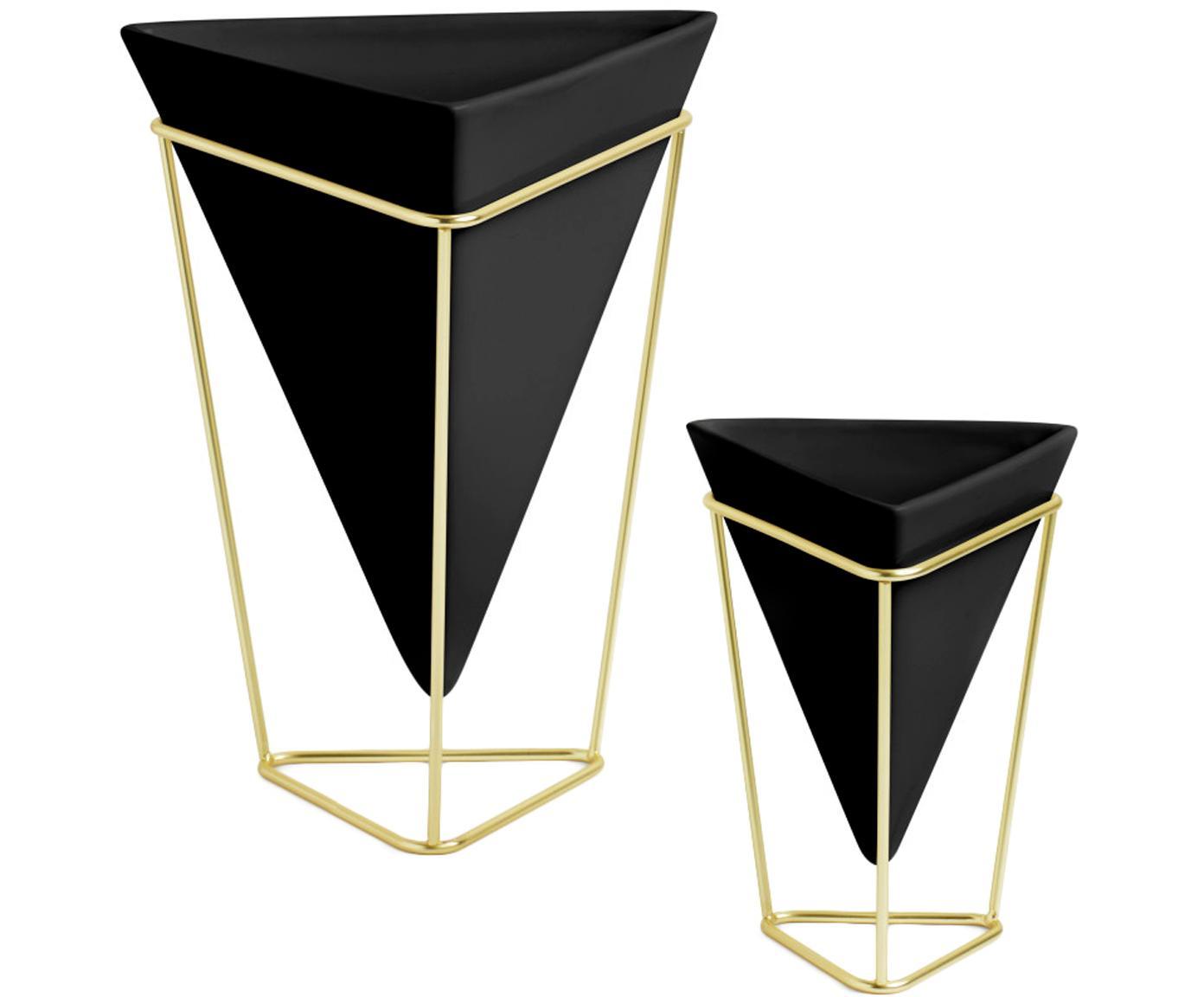 Set 2 portavasi Trigg, Struttura: metallo ottonato, Nero, ottone, Diverse dimensioni