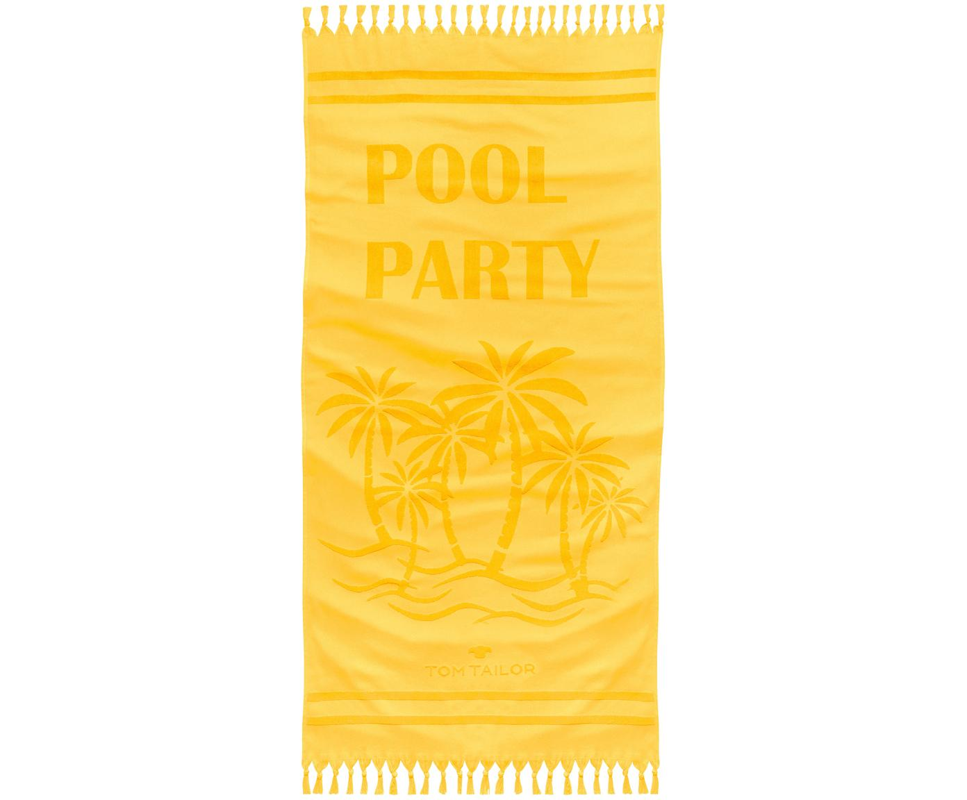 Fouta Pool Party, Parte delantera: algodón, Reverso: afelpado, Amarillo, An 90 x L 180 cm
