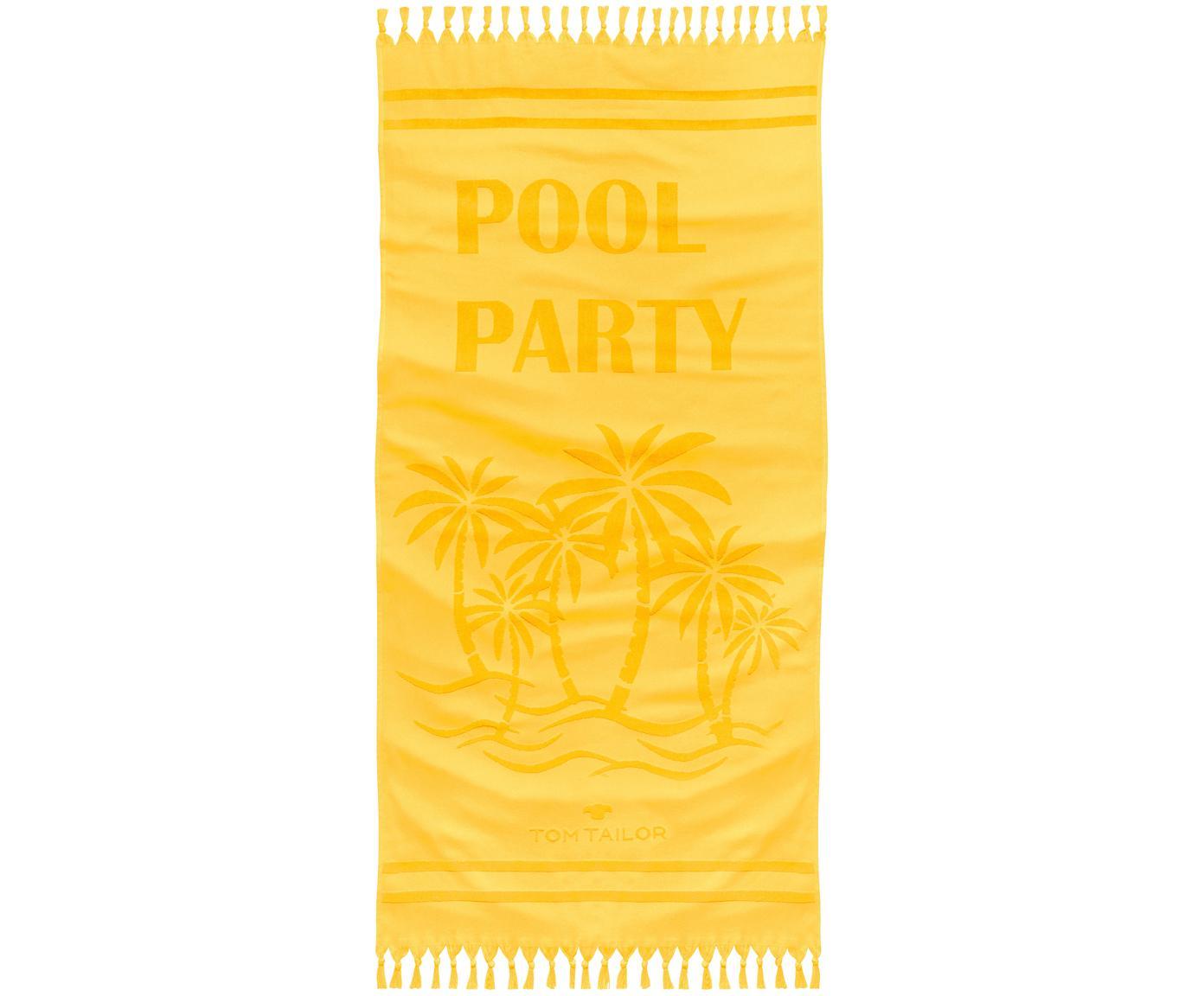 Hamamtuch Pool Party mit Schriftzug & Frottee-Rückseite, Vorderseite: 100% Baumwolle, Rückseite: Frottee, Gelb, 90 x 180 cm