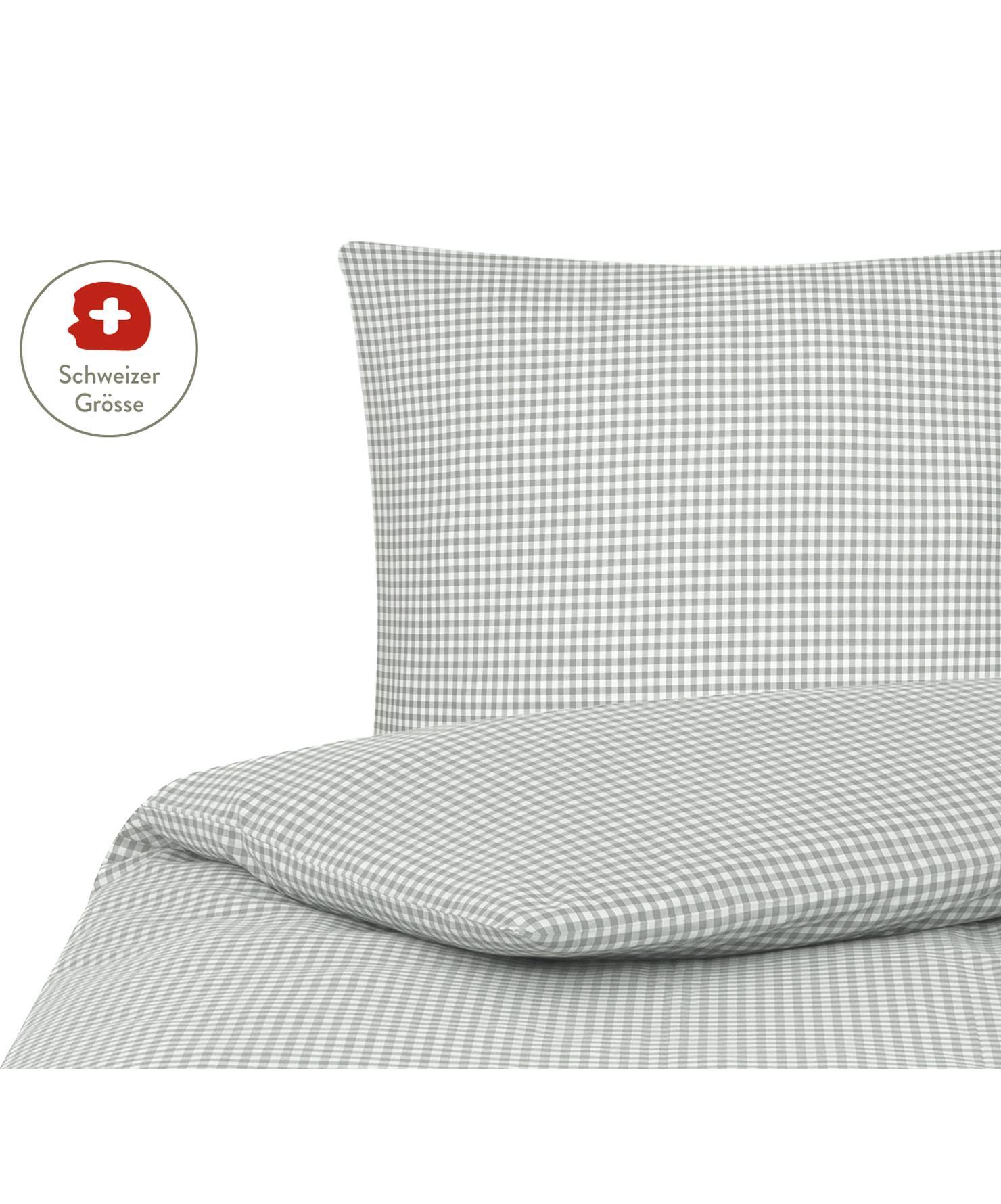 Baumwoll-Bettdeckenbezug Scotty, kariert, Baumwolle, Hellgrau/Weiss, 160 x 210 cm