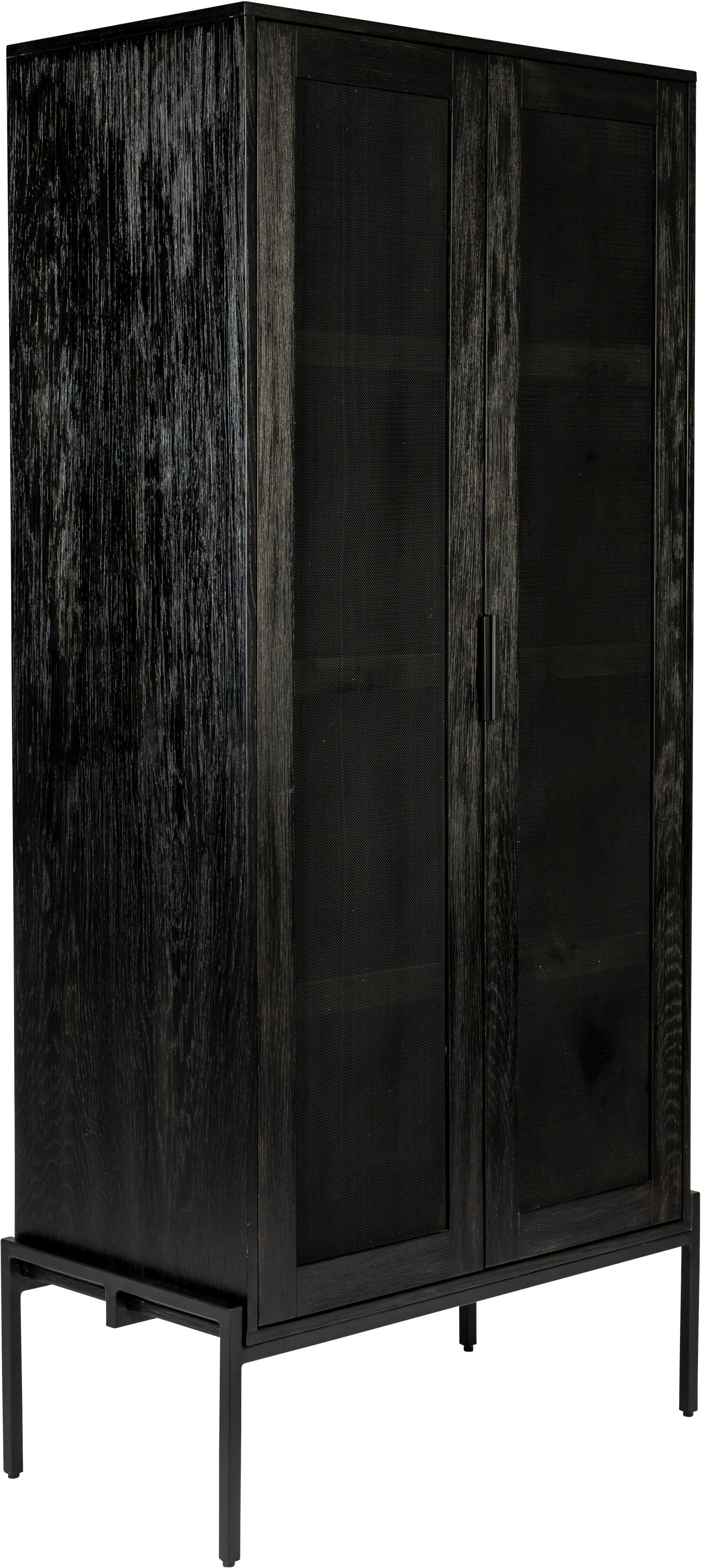 Highboard Hardy aus Holz und Metall, Gestell: Mitteldichte Holzfaserpla, Beine: Metall, beschichtet, Schwarz, 80 x 180 cm