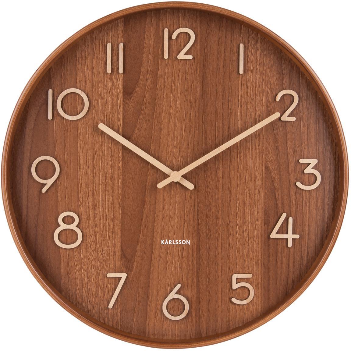 Reloj de pared Pure, Madera de tilo, Marrón, beige, Ø 60 cm