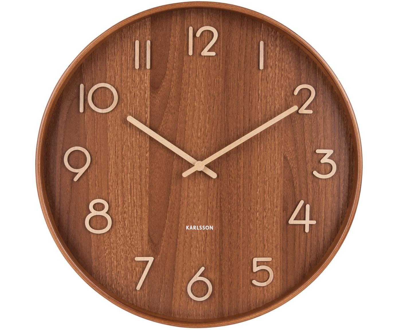 Orologio da parete Pure, Legno di tiglio, Marrone, beige, Ø 60 cm