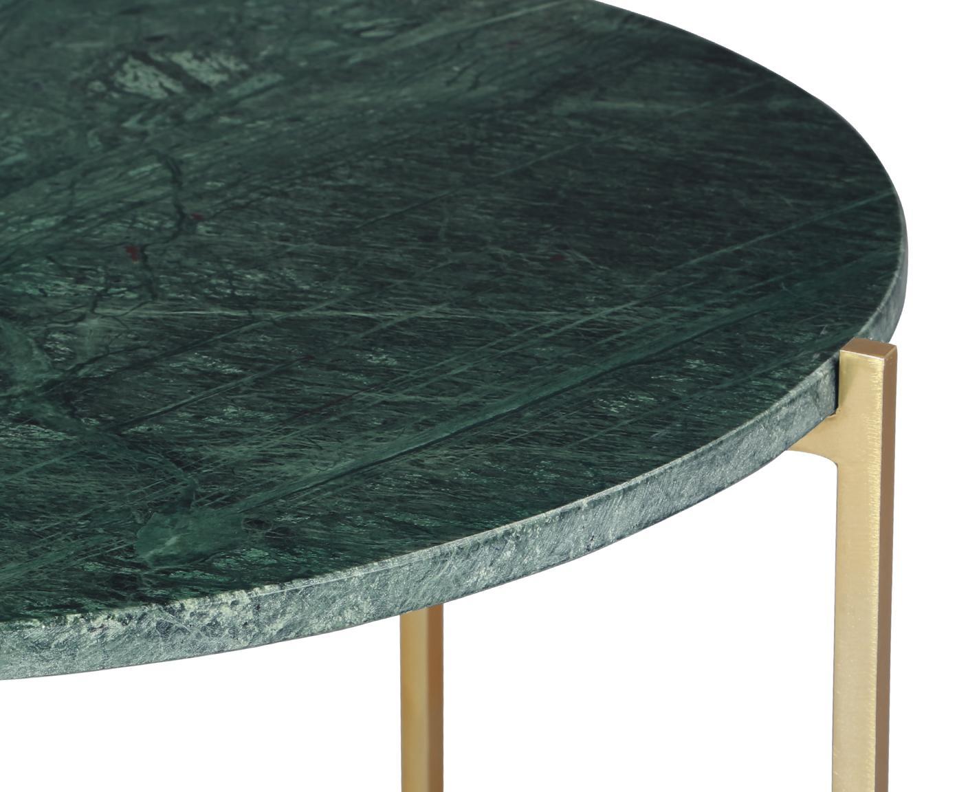 Ronde marmeren bijzettafel Margot, Tafelblad: marmer natuursteen, Frame: gepoedercoat metaal, Tafelblad: groen marmer. Frame: goudkleurig, Ø 59 cm x H 46 cm