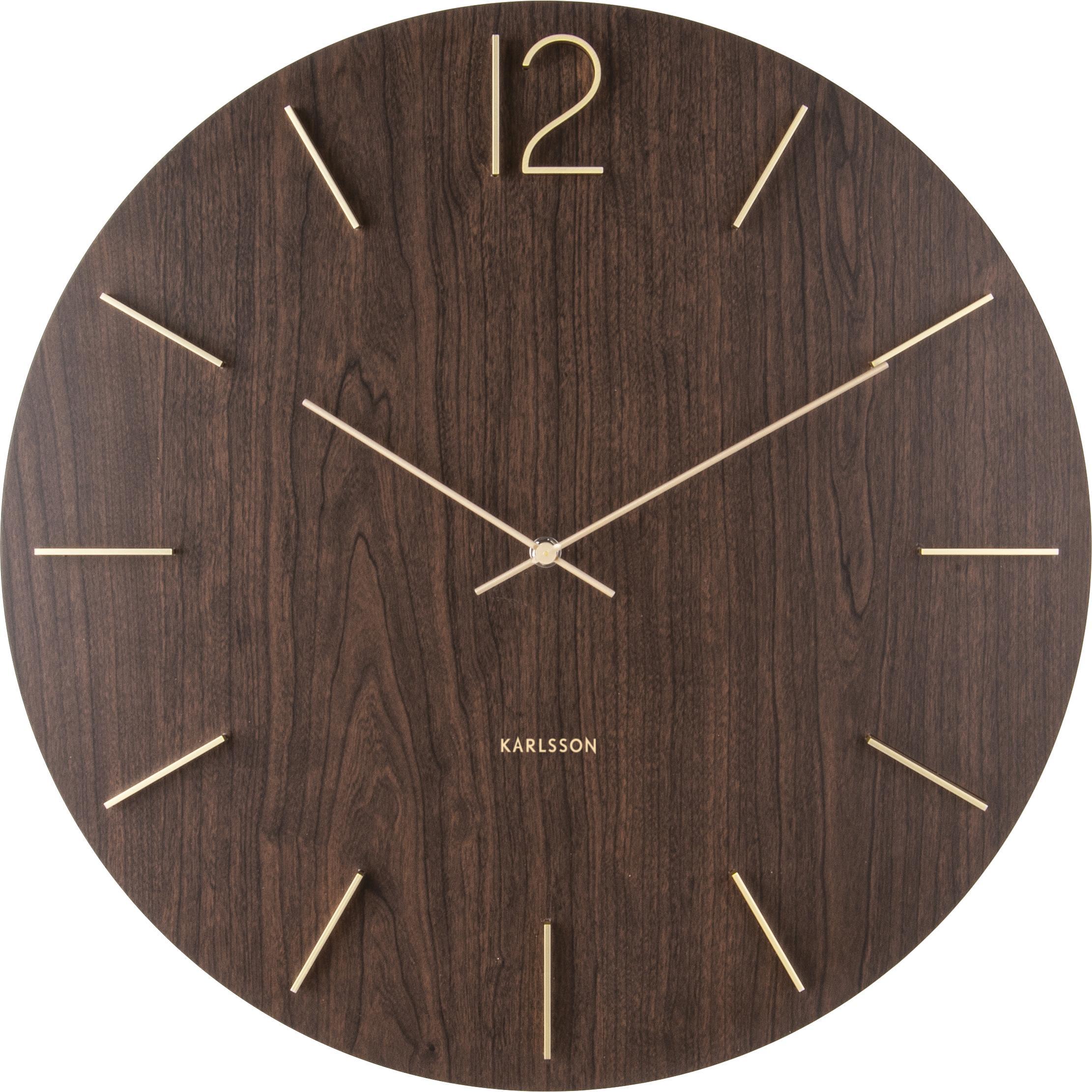 Zegarek ścienny XL Meek, Ciemnybrązowy, odcienie złotego, Ø 50 cm