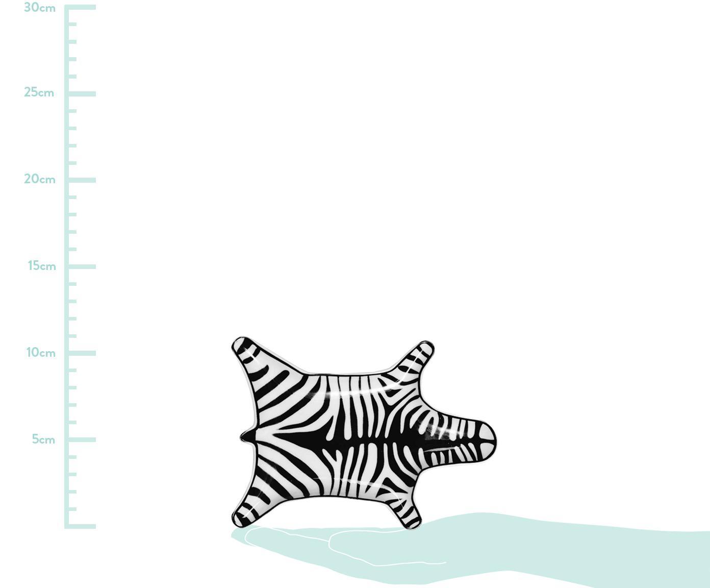 Designer-Deko-Schale Zebra aus Porzellan, Porzellan, Schwarz, Weiß, B 15 x T 11 cm