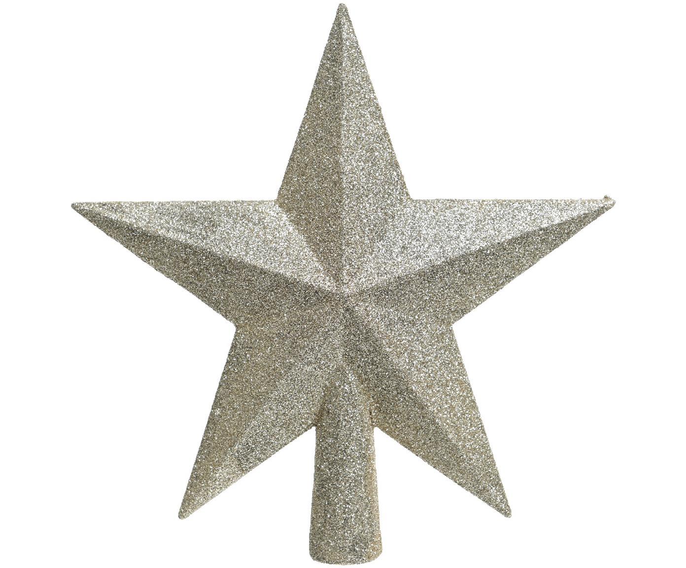 Ozdoba na czubek choinki Stern, Tworzywo sztuczne, brokat, Odcienie kremowego, S 19 x W 19 cm