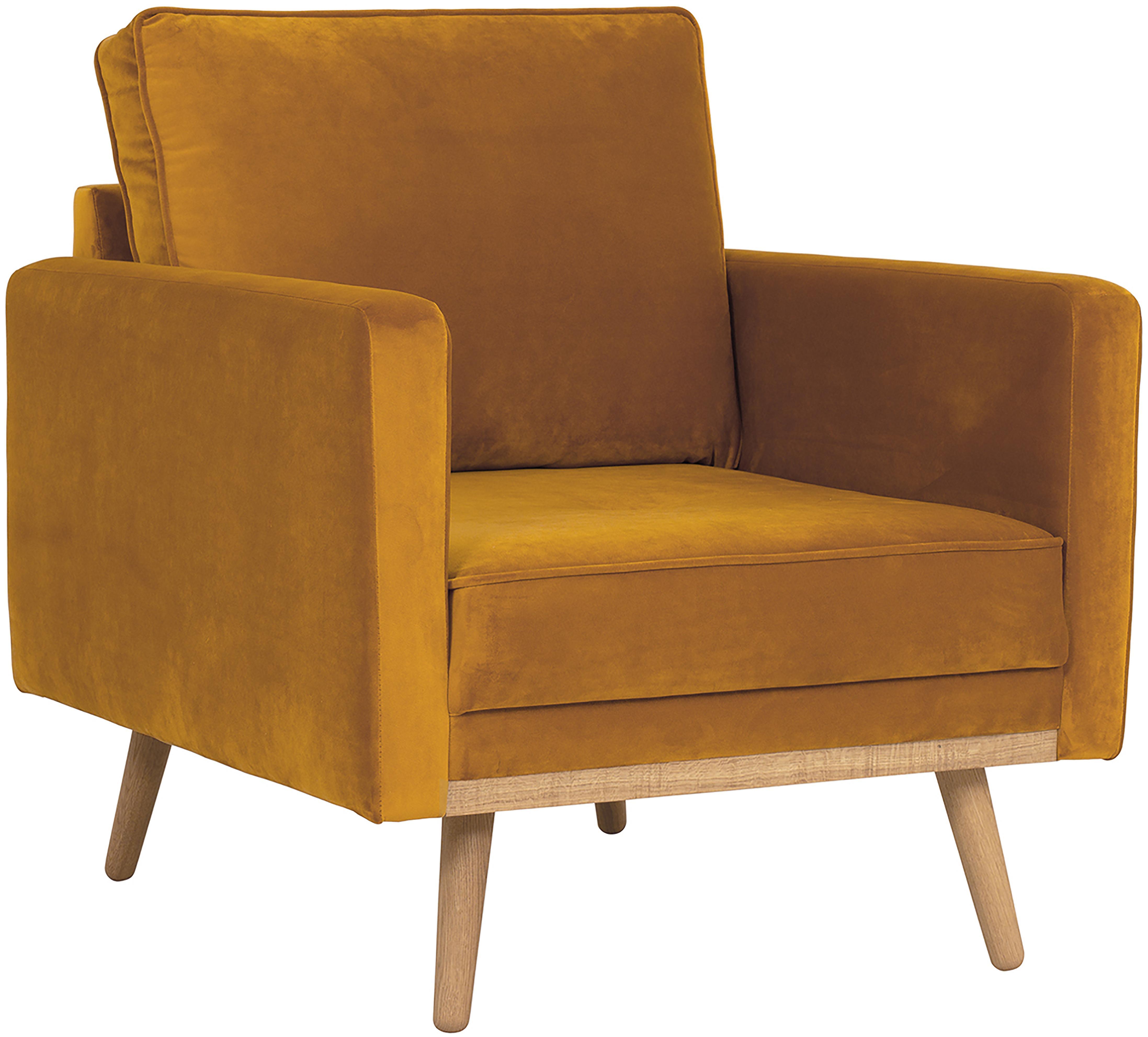 Fotel z aksamitu Saint, Tapicerka: aksamit (poliester) 3500, Stelaż: masywne drewno sosnowe, p, Aksamitny musztardowy, S 85 x G 76 cm