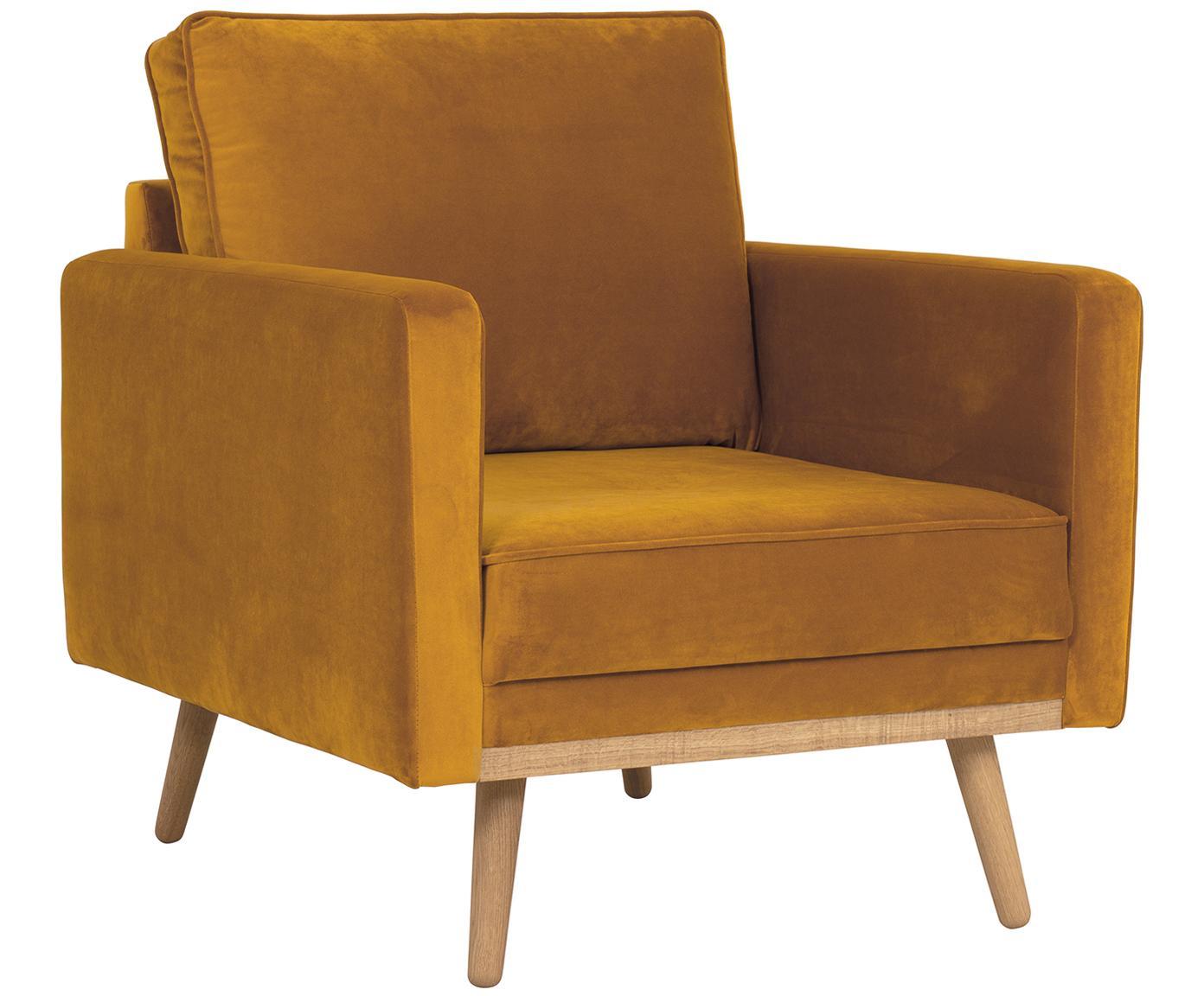 Fluwelen fauteuil Saint, Bekleding: fluweel (polyester), Frame: massief grenenhout, spaan, Bekleding: okergeel. Poten en frame: eikenhoutkleurig, B 85 x D 76 cm