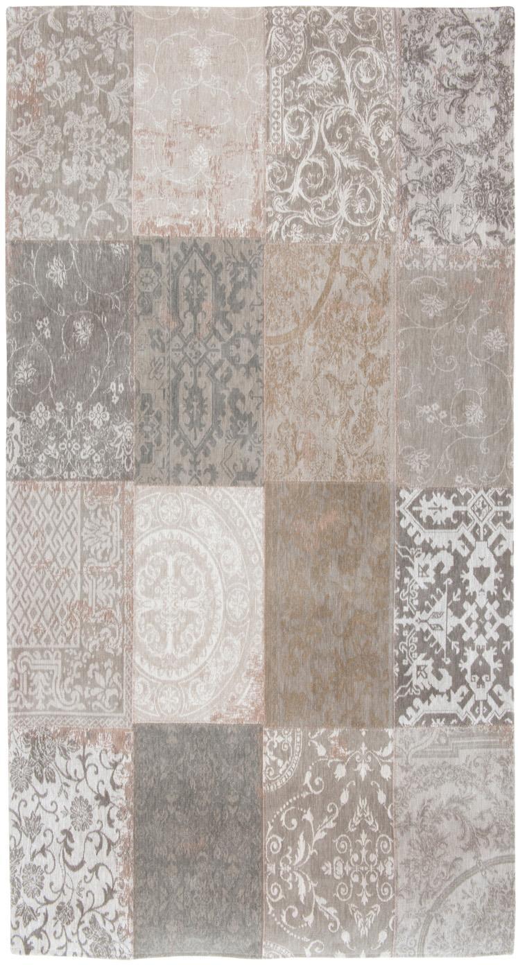 Vloerkleed Multi, Bovenzijde: 85% chenilledraad (katoen, Weeftechniek: jacquard, Onderzijde: katoenmix, gecoat met lat, Beige, grijs, B 80 x L 150 cm (maat XS)