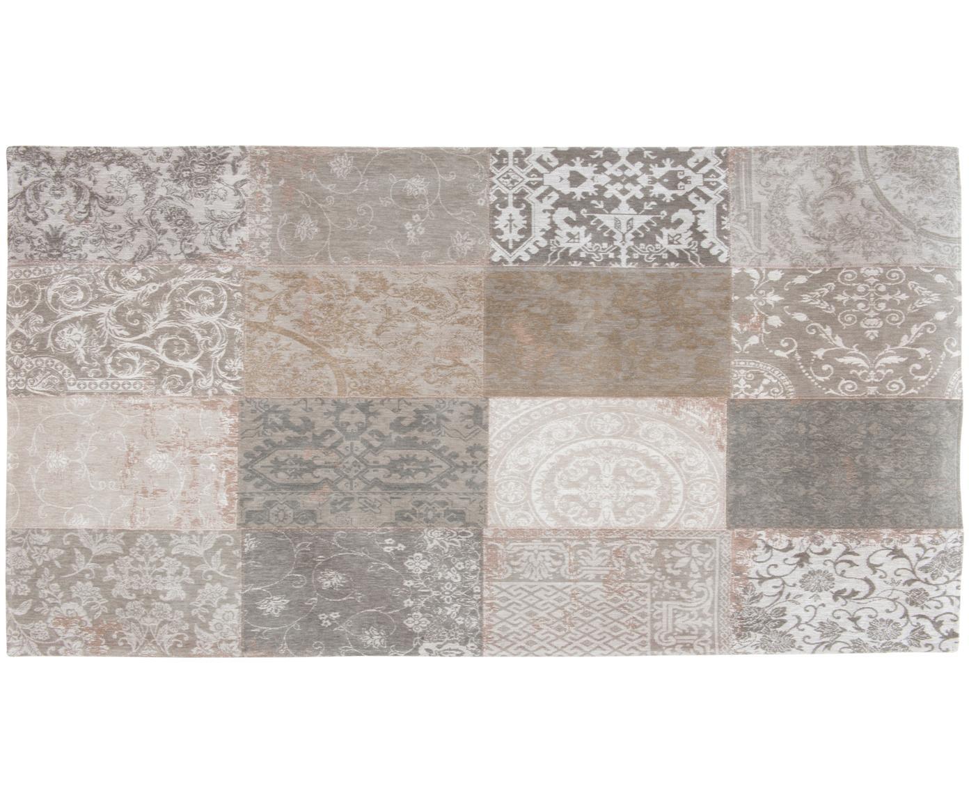Chenille-Teppich Multi mit Patchwork-Design, Vorderseite: 85%Chenillegarn (Baumwol, Webart: Jacquard, Rückseite: Baumwollgemisch, latexbes, Beige, Grau, B 80 x L 150 cm (Größe XS)