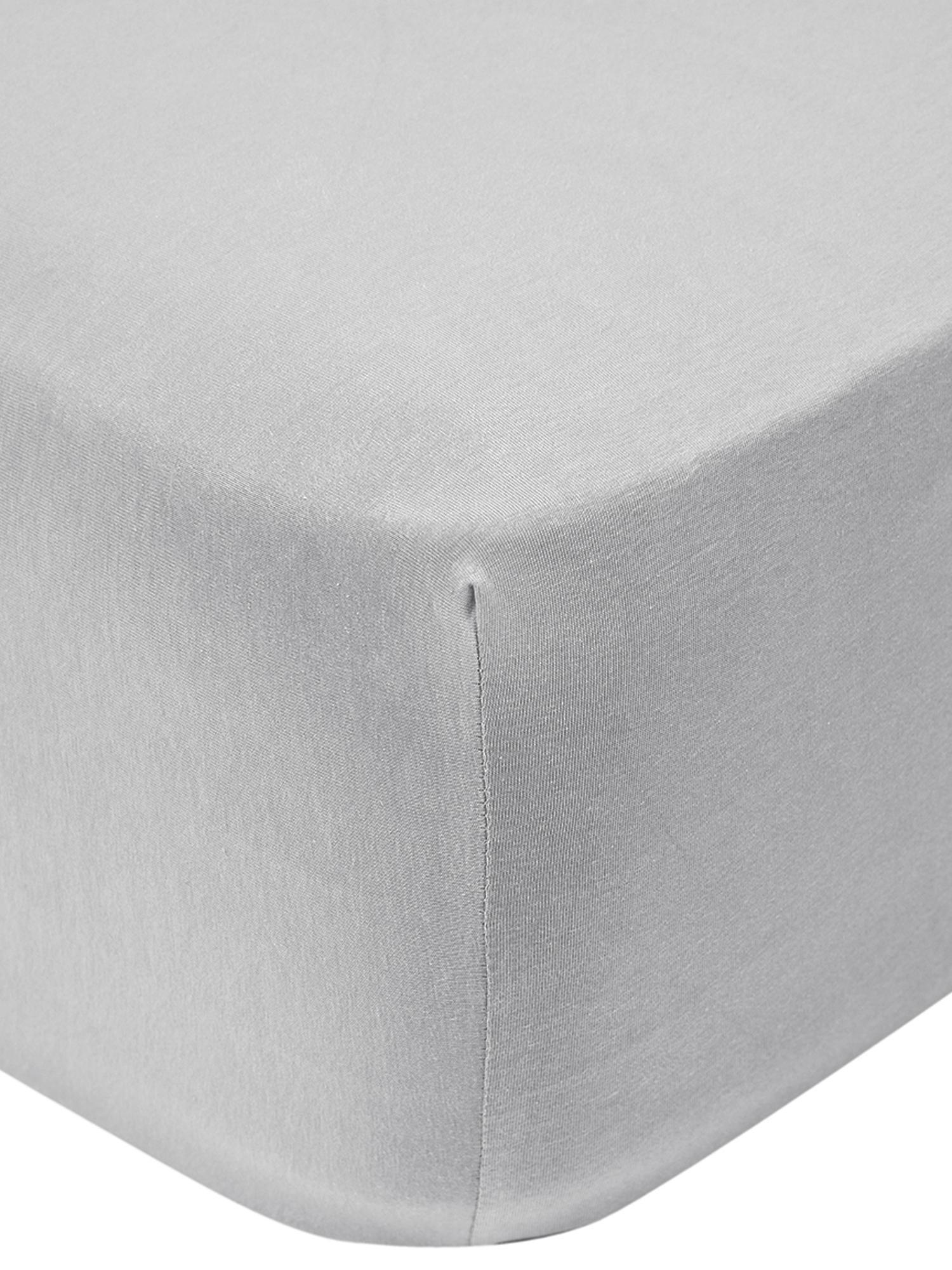 Boxspring-Spannbettlaken Lara, Jersey-Elasthan, 95% Baumwolle, 5% Elasthan, Hellgrau, 180 x 200 cm