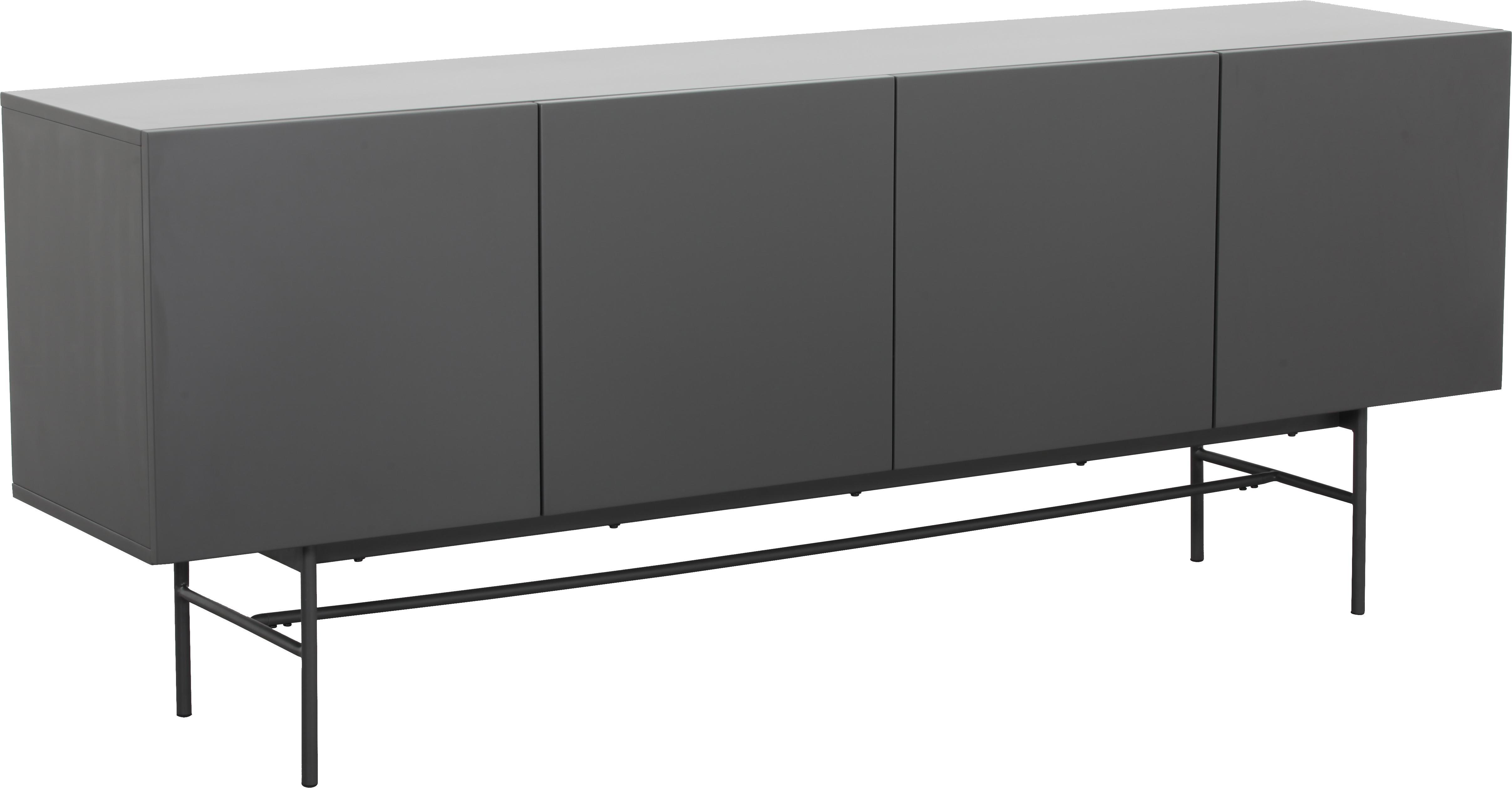 Modernes Sideboard Anders, Korpus: Mitteldichte Holzfaserpla, Füße: Metall, pulverbeschichtet, Korpus: GrauFüße: Grau, matt, 200 x 80 cm