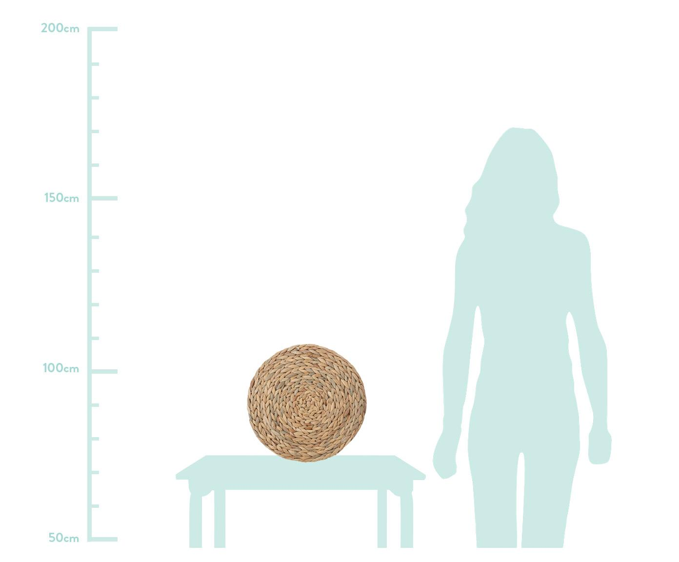 Runde Tischsets Wanda, 4 Stück, Wasserhyazinthe, Beige, Ø 35 cm