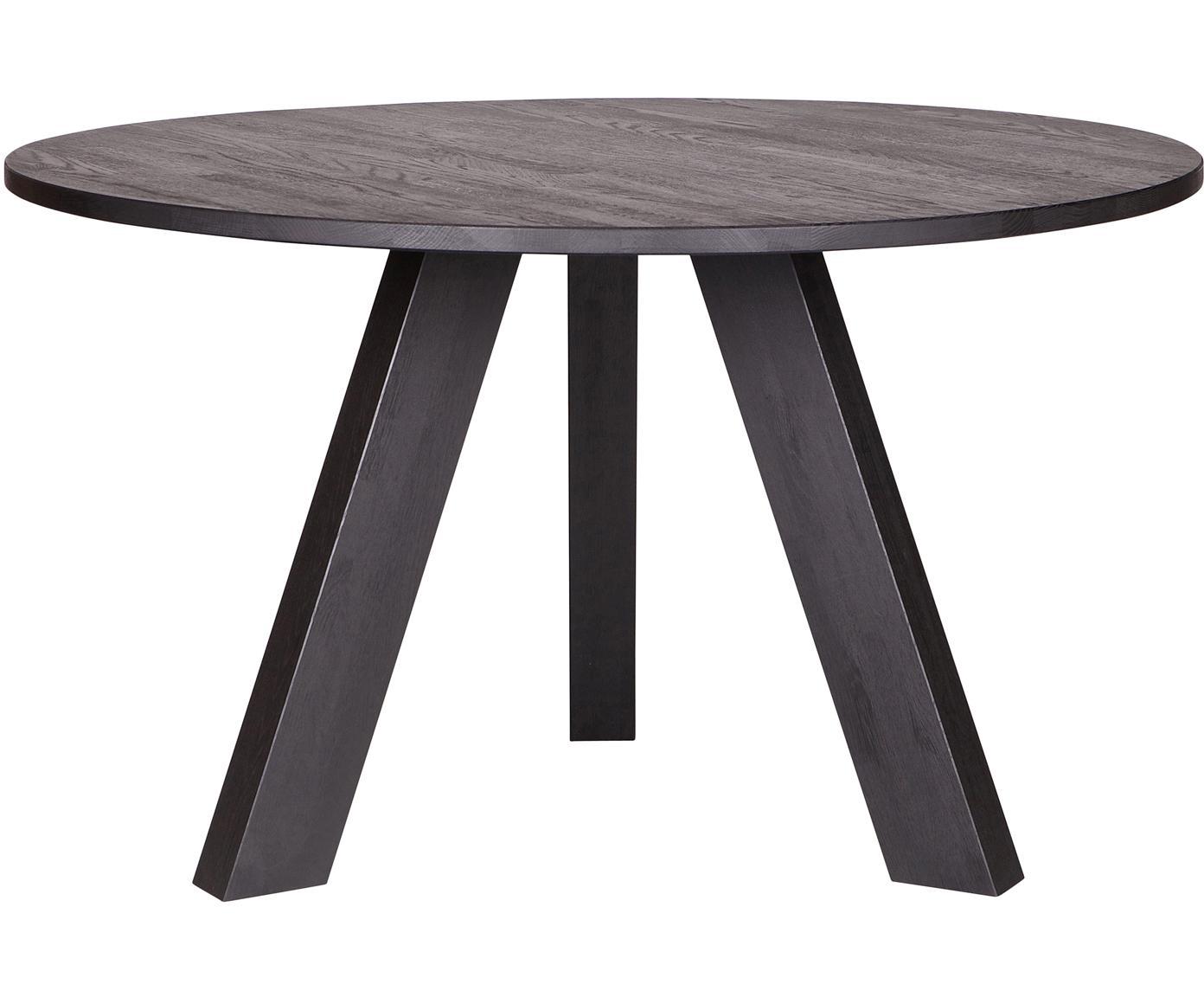 Runder Esstisch Rhonda aus Massivholz, Eichenholz, massiv, Schwarz, Ø 129 x H 75 cm