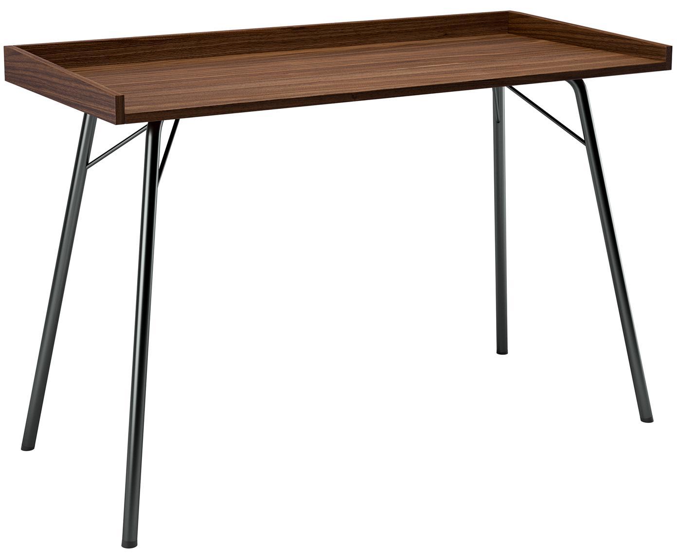 Schreibtisch Rayburn mit Walnussholzfurnier, Tischplatte: Mitteldichte Holzfaserpla, Gestell: Metall, pulverbeschichtet, Walnuss, B 115 x T 52 cm